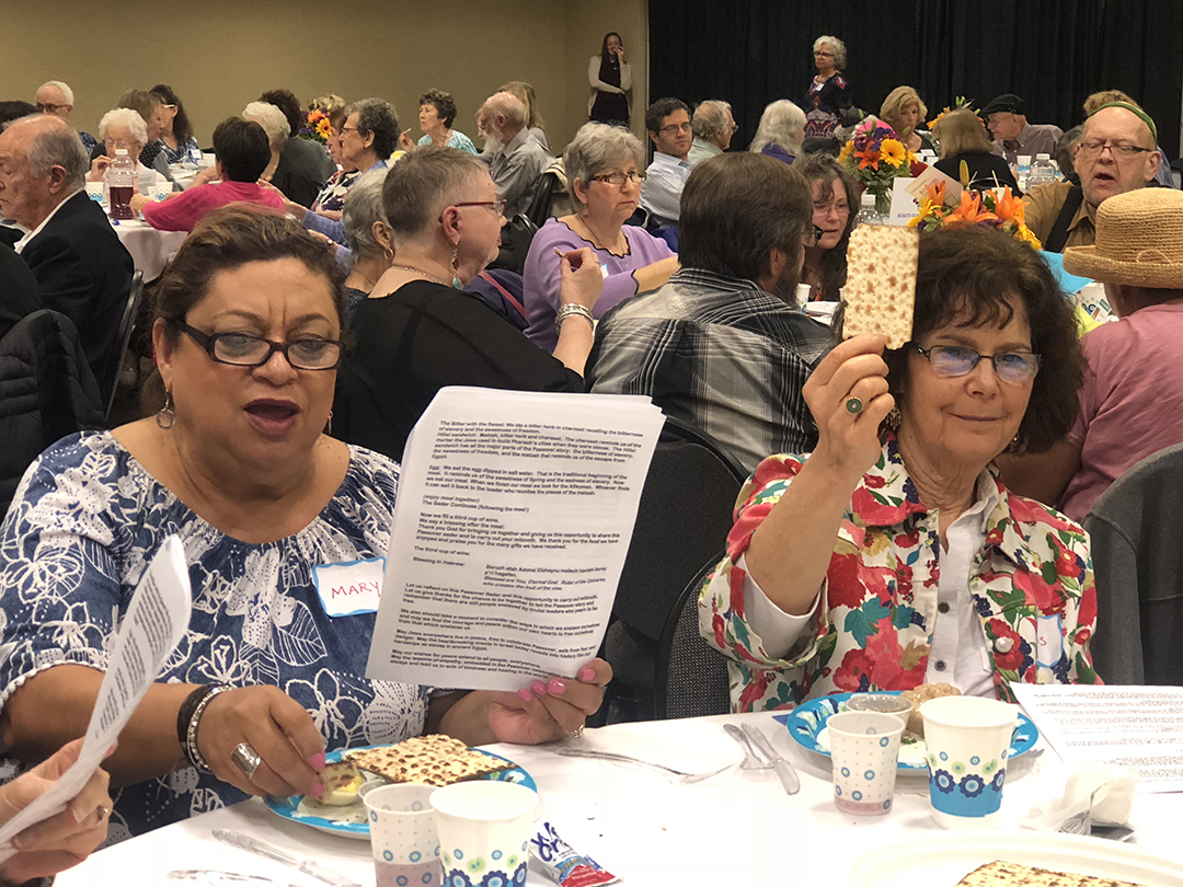 Community members and visitors age 55+ gather for Senior Adult Seder. Credit: Wendy R. Corn