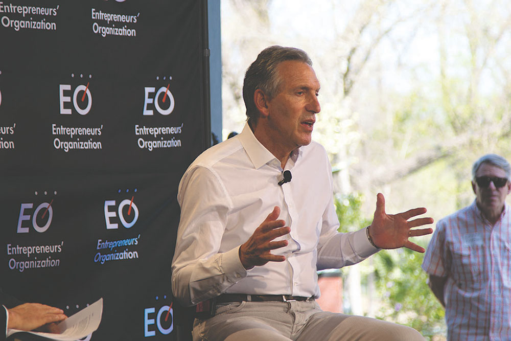 During SXSW, Howard Schultz sits down with David Anderson, Entrepreneurs' Organization regional chair for a discussion on his career and entrepreneurship at an event at Umlauf Sculpture Garden. Credit: Wendy Goodman