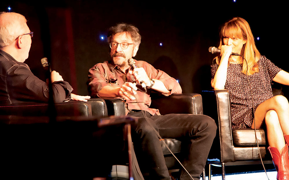 "During SXSW Comedy, film critic Leonard Maltin (left) and his daughter Jessie Maltin sit down with actor Marc Maron (center) and director Lynn Shelton (right) to discuss their new film ""Sword of Trust."" Credit: Wendy Goodman."