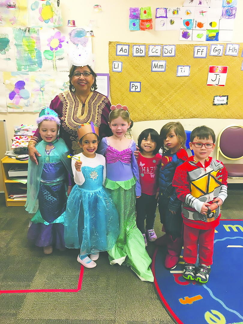 Ms. Rosa Maria and her Rhino class celebrate Purim in costume. Credit: Iris Koeller