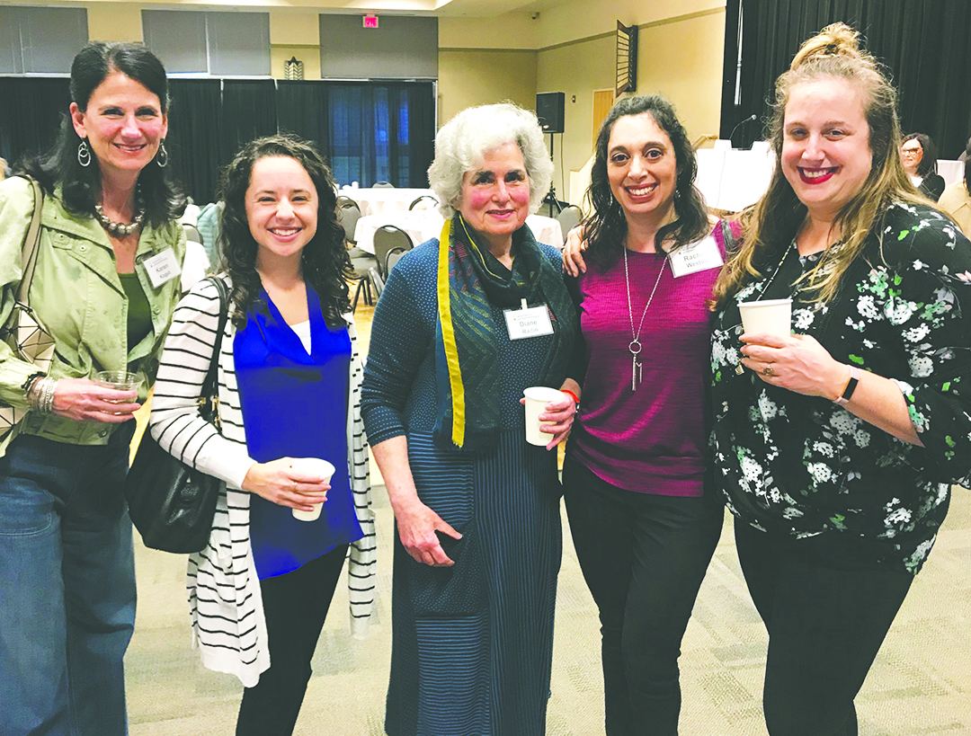 Karen Kogut, Heather Krol, Diane Radin (special guest panelist), Rachel Weston, and Amy Hyman at the Fourth Course of Taste of Women's Philanthropy learning about ways to get involved in the Austin Jewish Community.