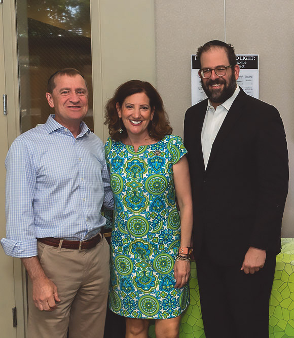 From left, Dave Halla from the Tree of Life synagogue in Pittsburgh, project organizer Susan Ribnick, and Rabbi Neil Blumofe of Congregation Agudas Achim. Credit: Annie Winsett, Crafting Exposure owner and head photographer