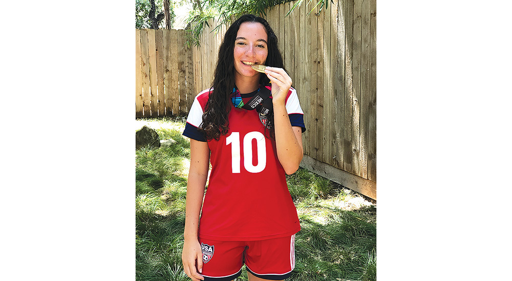 Helena Lewis played on the Maccabi USA U18 Juniors Girls' Soccer Team, which won gold at the 14th Pan American Maccabi Games, which took place in Mexico City, Mexico, in July. Credit: Liza Lewis.