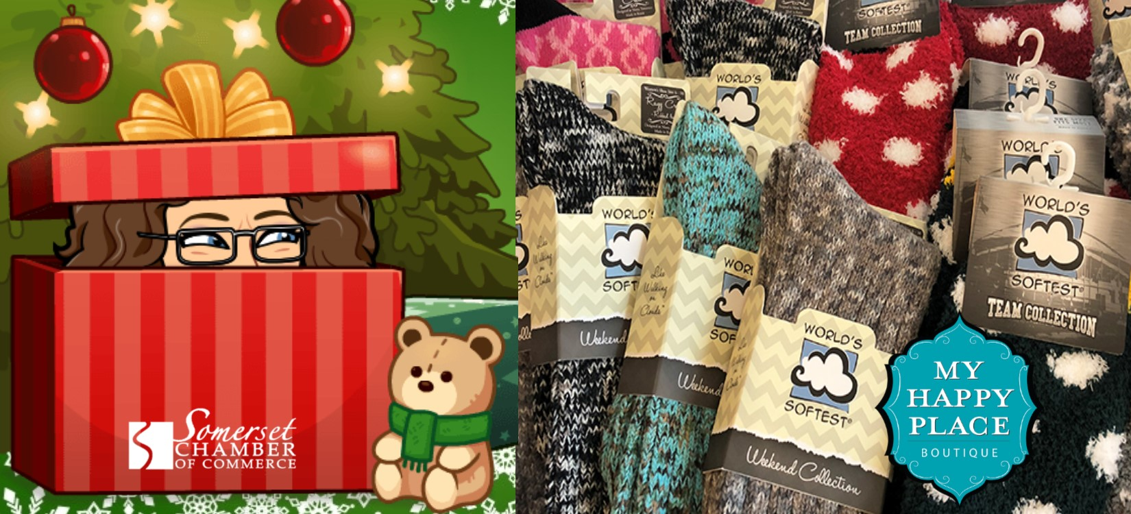 # 2 - World's Softest Socks - The search is over!! Our feet have never been so happy! You'd better run over to My Happy Place and grab some for your friends and loved ones before they're gone! Both the Somerset & Prescott locations have them! The best part is they're only $12. Great as stocking stuffers!($)