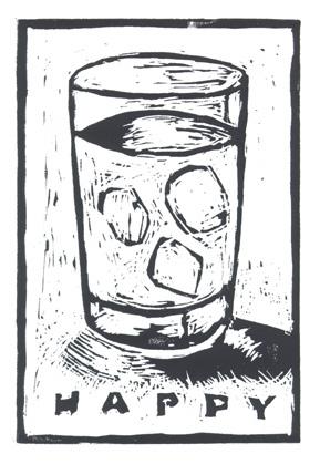 "HAPPY (2008), linoleum print on paper, 5"" x 7.25"" edition of 50. $10."