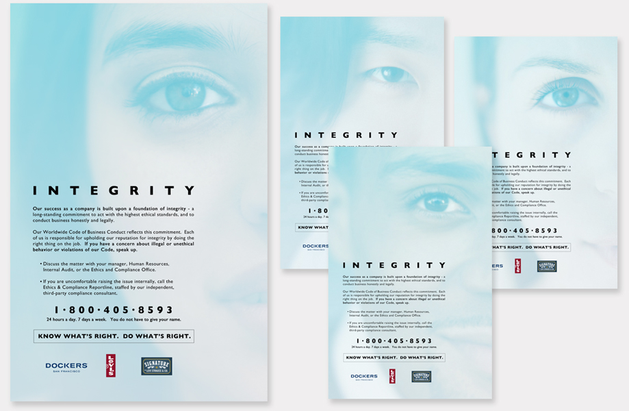"LEVI STRAUSS & CO.: ""Integrity"" - Poster series introducing a company ethics program. Created concept and design based on being able to look someone in the eye."