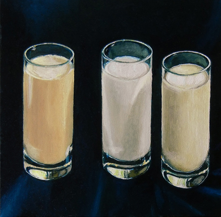 "SHOTS: ALMOND MILK, GESSO, COW MILK (2012) oil on panel, 10"" x 10"" Private collection"