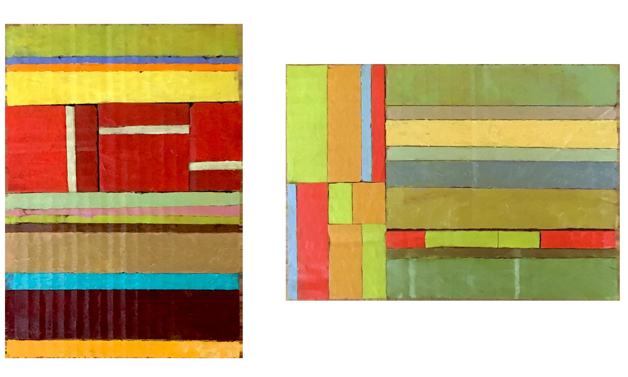 Left: SPICE TRADE, right: DECKEL HIER LOSEN, both 2018, oil on cardboard, 148cm x 210cm.