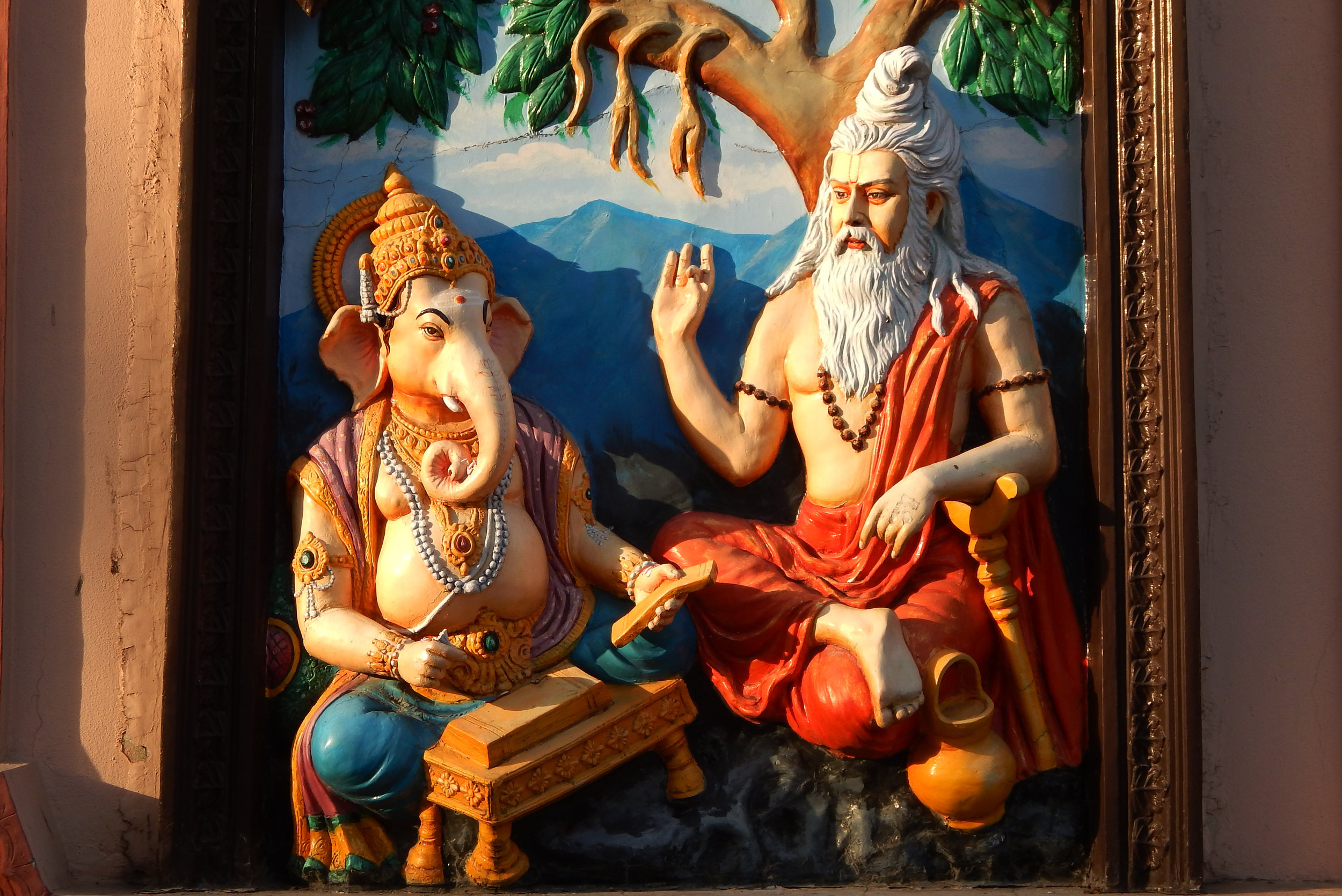 Veda Vyasa dictating the Mahabharata to Ganesha