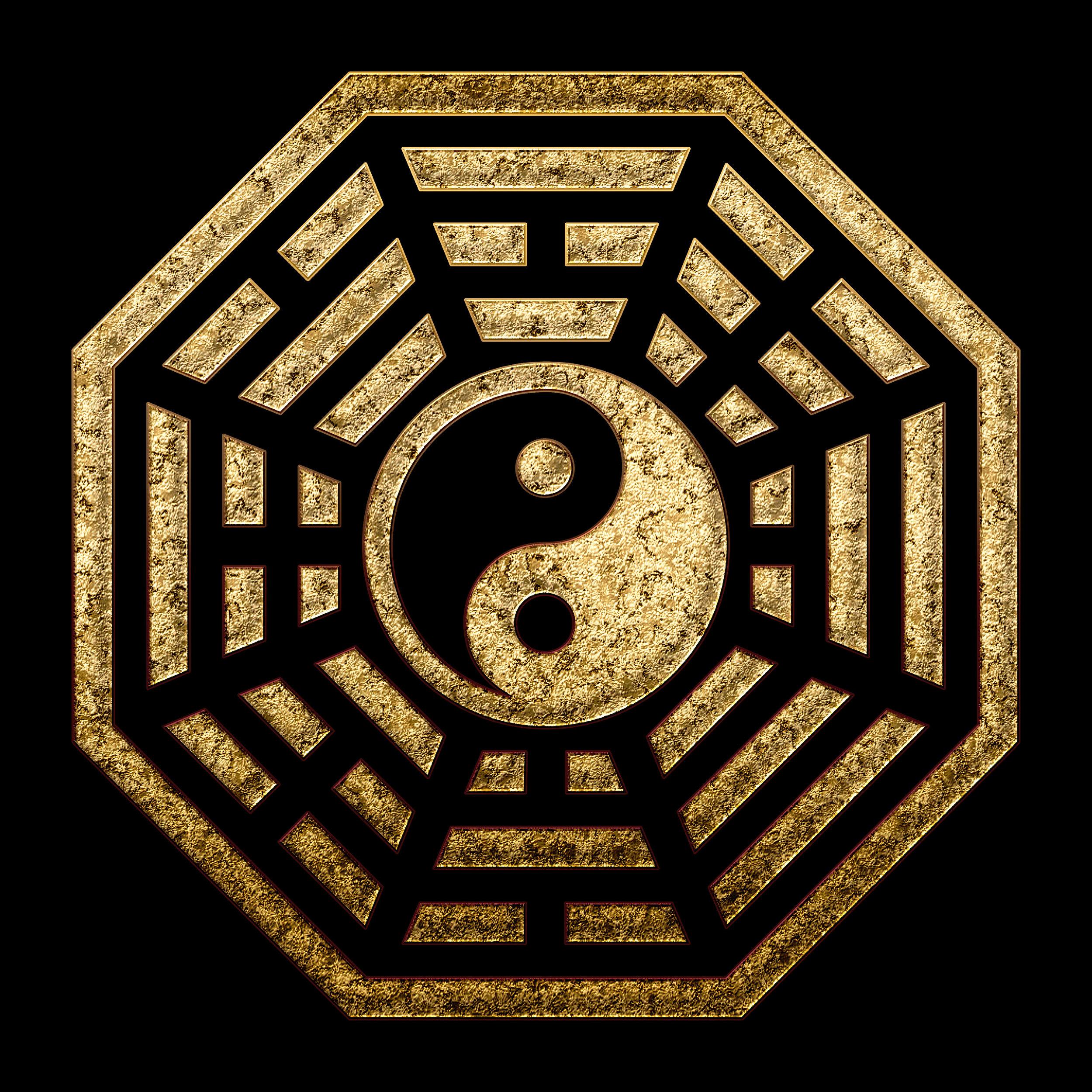 Bagua symbol - The eight trigrams surrounding the taiji symbol (of yin and yang)
