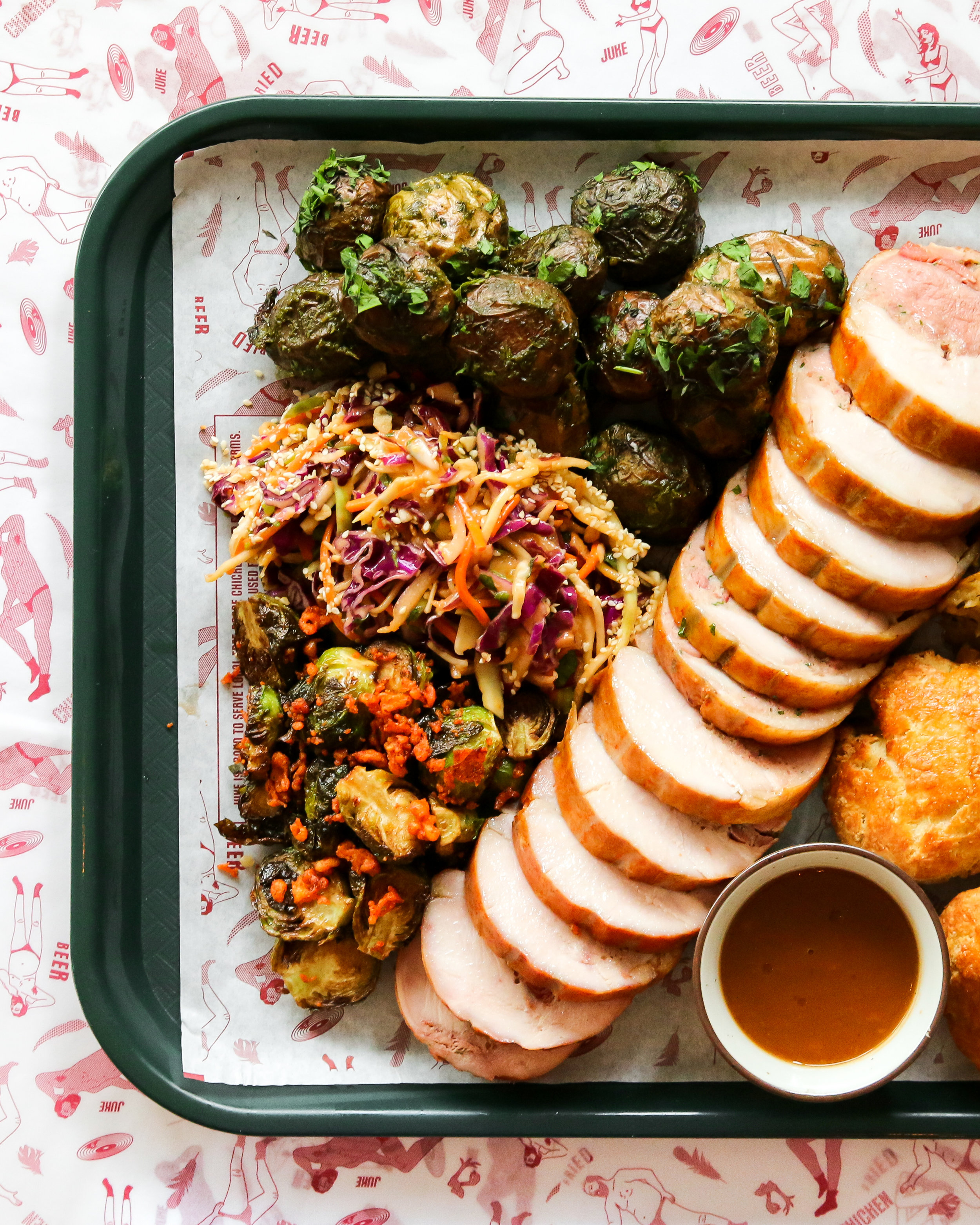JUKE FRIED CHICKEN BRINGS BACK TURDUCKEN FEAST FOR EASTER WEEKEND - April 8, 2019The bird's the word this Easter as Juke Fried Chicken brings back their popular Turducken Feast for pick-up exclusively at their Little Juke location (1074 Davie Street) on Saturday, April 20 and Sunday, April 21.Juke's Easter Turducken Feast feeds six to eight people and includes pre-sliced turducken — a three-in-one showstopper featuring roasted turkey, duck and chicken — accompanied by large sides of fried Brussels sprouts, herb-roasted potatoes, fennel pork and pistachio stuffing, Cacio E Pepe fried cauliflower, and country biscuits with whipped schmaltz as well as a nostalgic package of marshmallow Peeps.Feasts are available for $169 plus tax and can be ordered by emailing info@jukefriedchicken.com before noon on Wednesday, April 17.