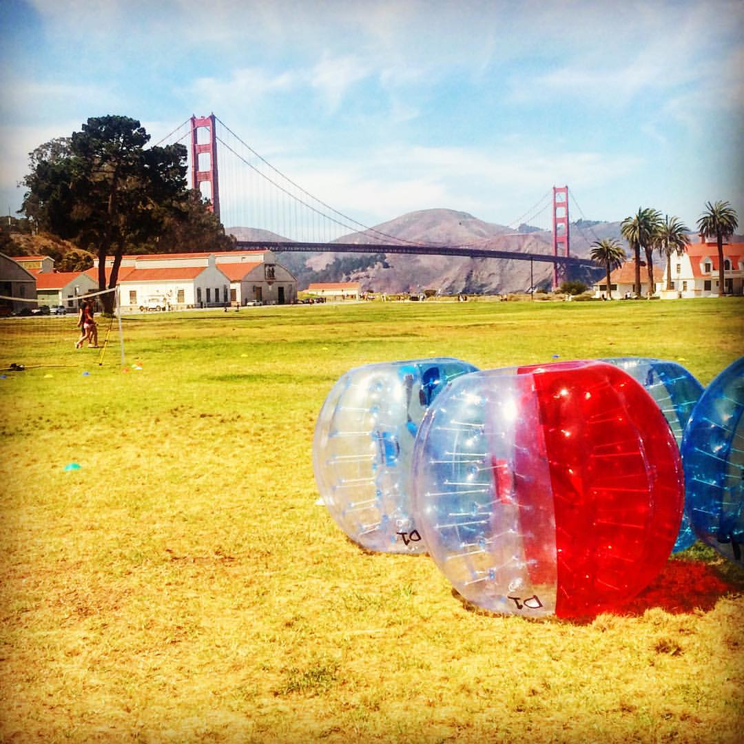 Fun day at work today 😎 #goldengatebridge #SF #bubblesoccer #teamouting