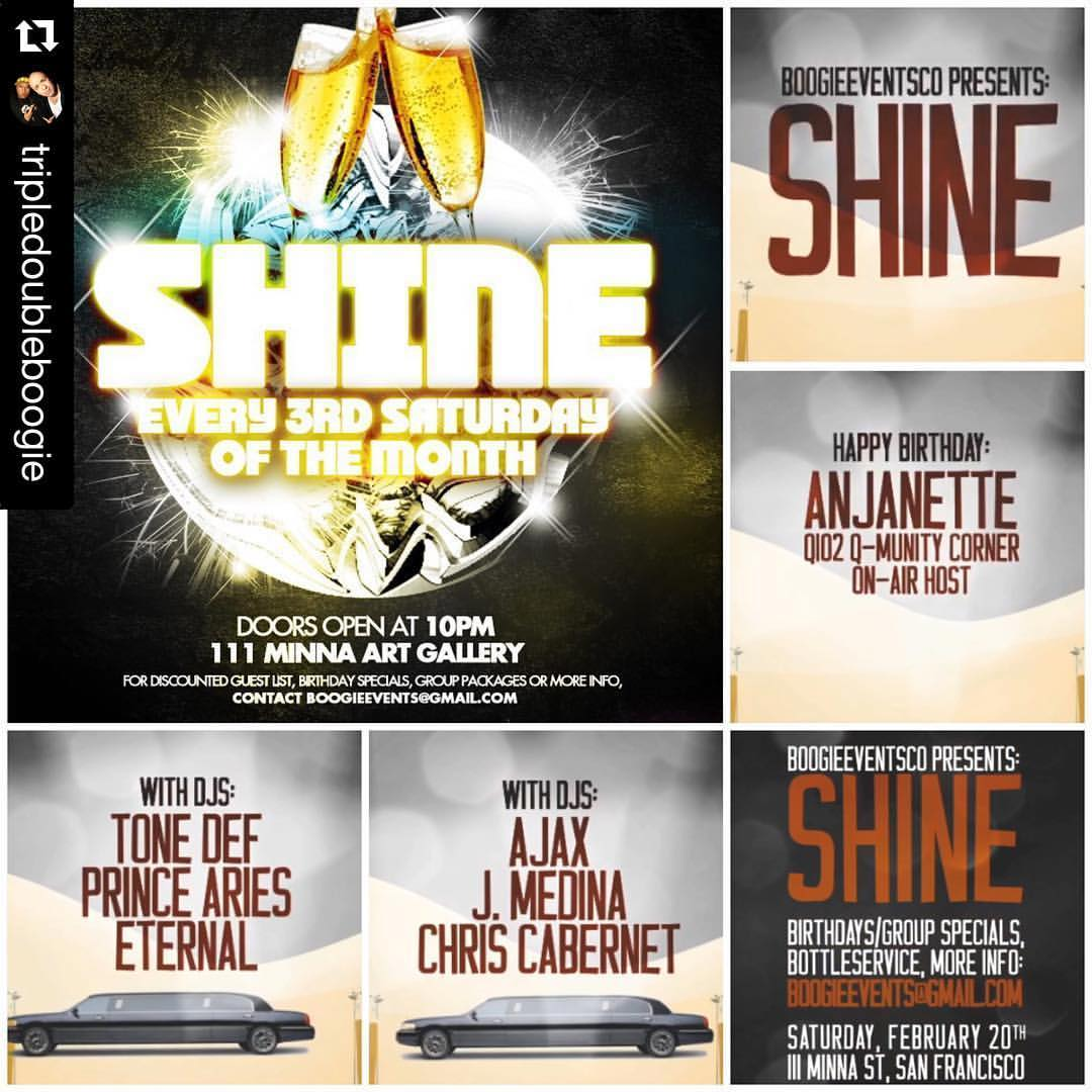 THIS SATURDAY! 🔥🔥🔥  #Repost @tripledoubleboogie   ・・・  Join us as we get our SHINE on @111minnagallery this SATURDAY!!! #BoogieBooth will be in the building providing free photo booth prints!  Hit BoogieEvents@gmail.com for more info, guestlist or BIRTHDAY SPECIALS!