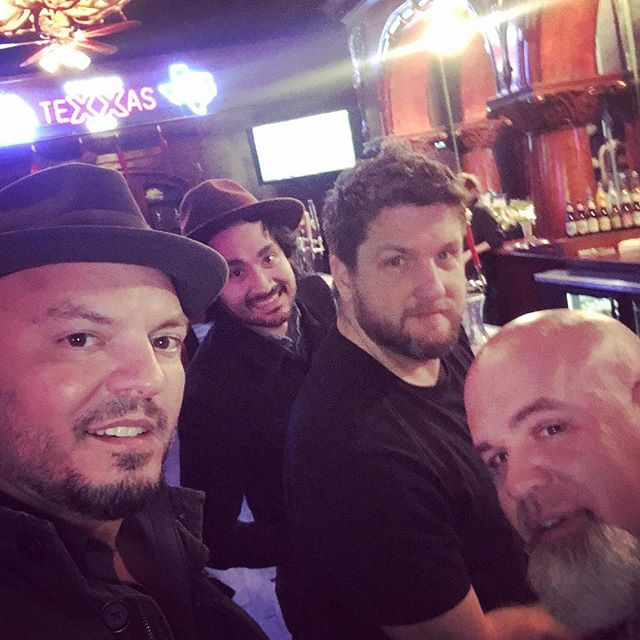 Chillin' at the bar. #wheresriley #bandmembers #americanamusic #shinerbeer #texas