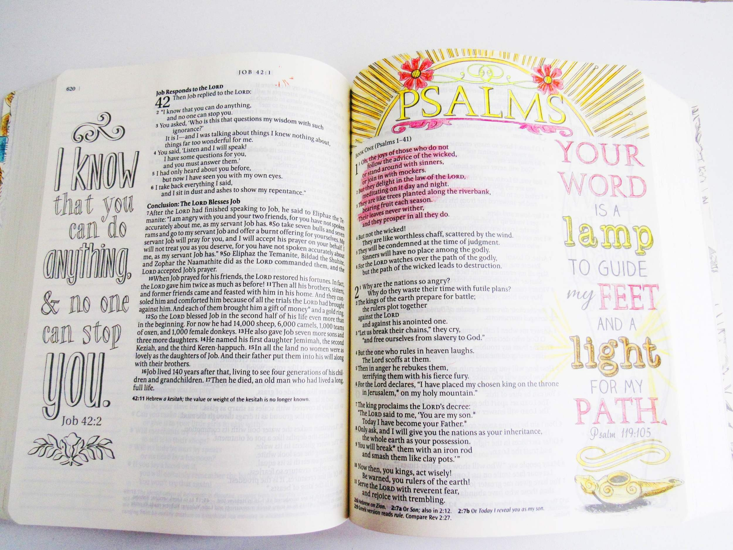Each chapter of the INSPIRE BIBLE has a beautiful design along with the title. Here, I colored the first page of Psalms, but the page on the left is an example of the over 400 images you can color in your Bible.