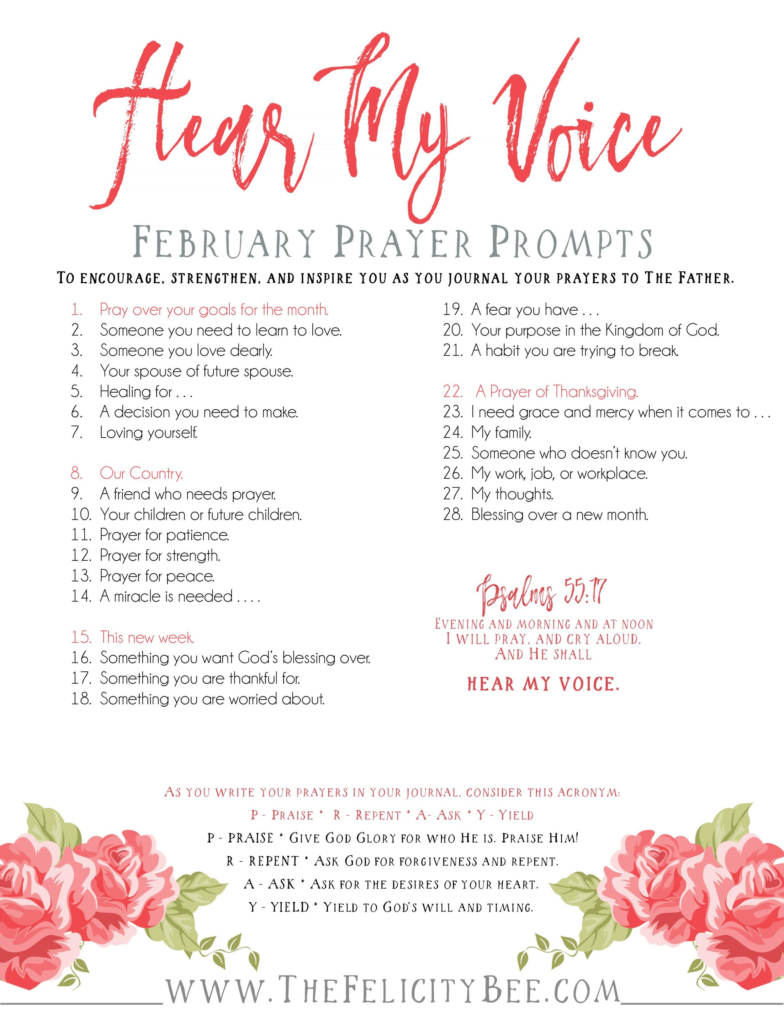 Hear My Voice       February Prayer Prompts  — Symphony of