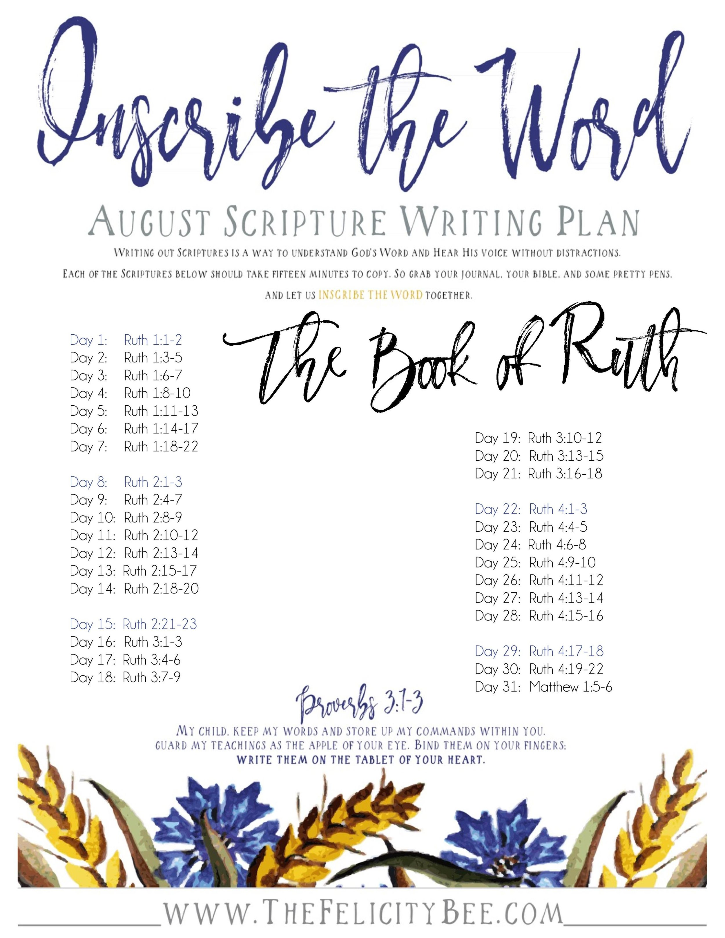 Inscribe the Word Scripture Writing Plan The Book of Ruth