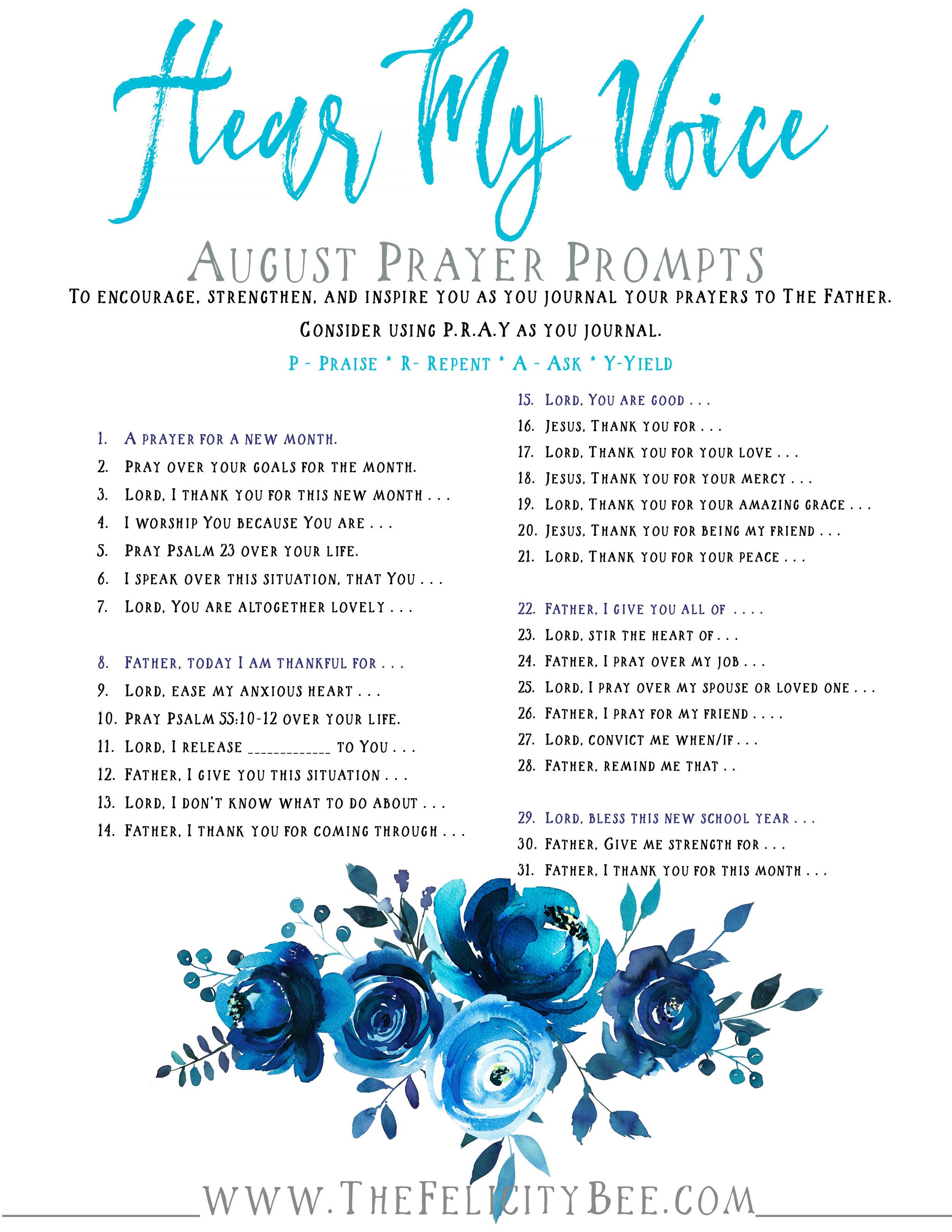 Hear My Voice August Prayer Prompts