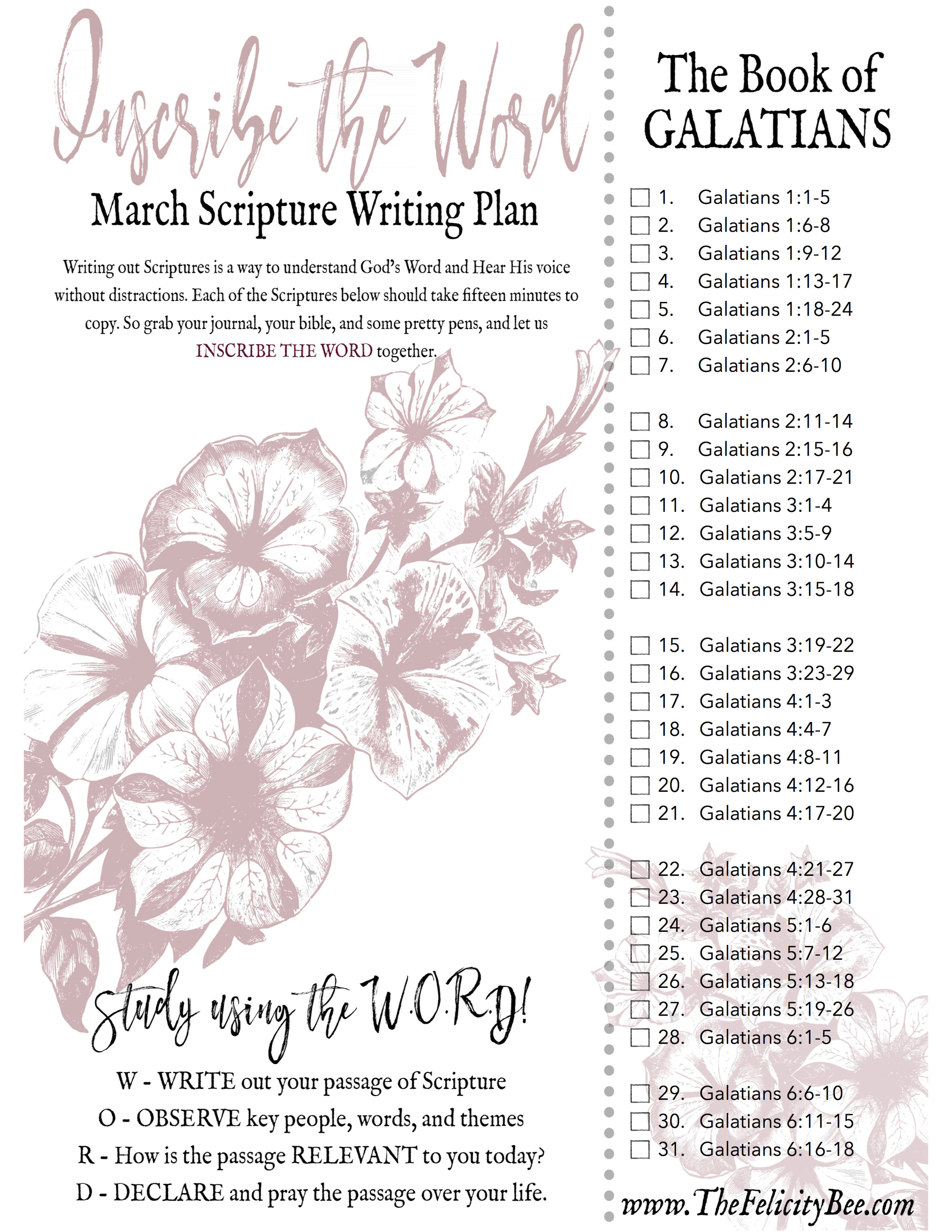 CLICK HERE TO DOWNLOAD  YOUR MARCH SCRIPTURE WRITING PLAN.