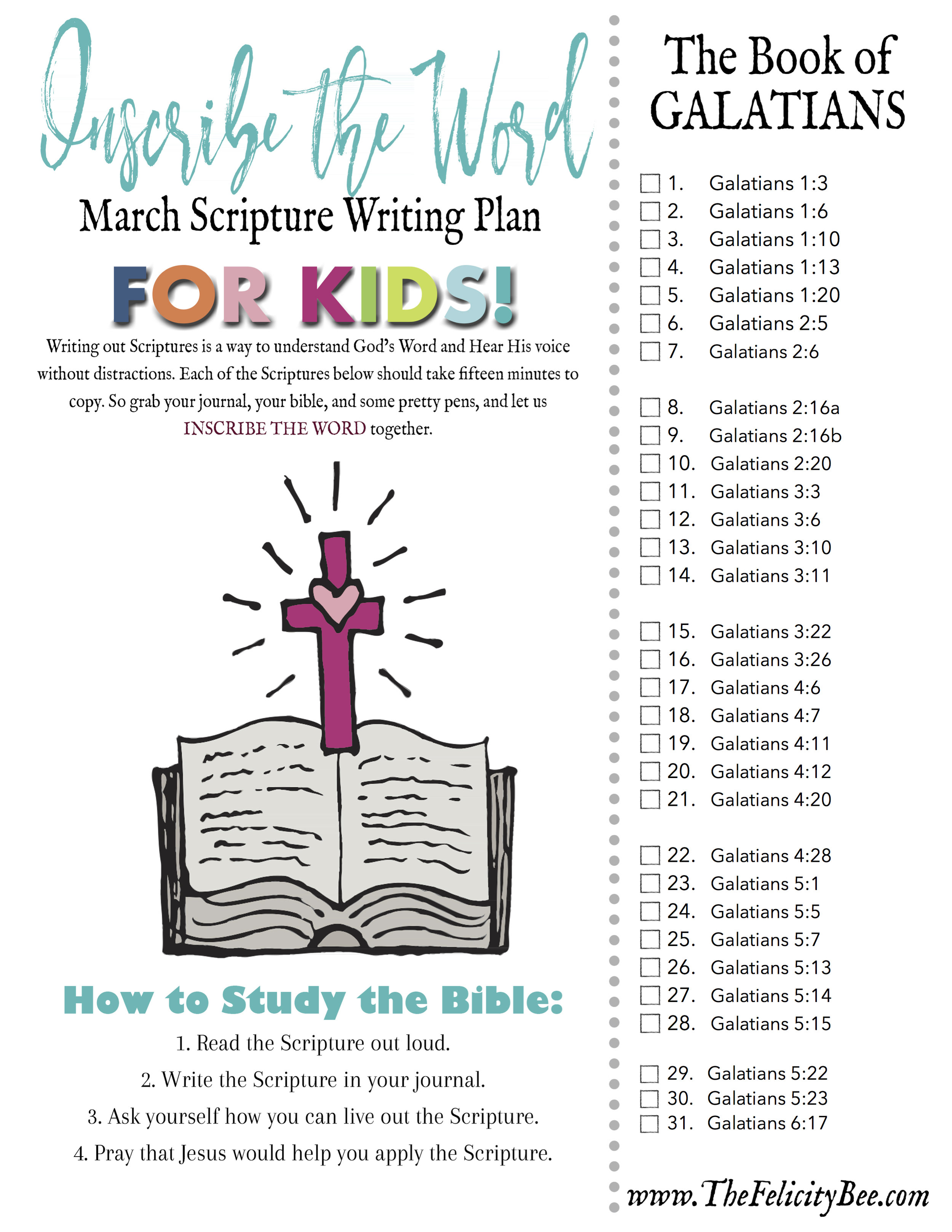 CLICK HERE TO DOWNLOAD  YOUR KIDS MARCH SCRIPTURE WRITING PLAN.
