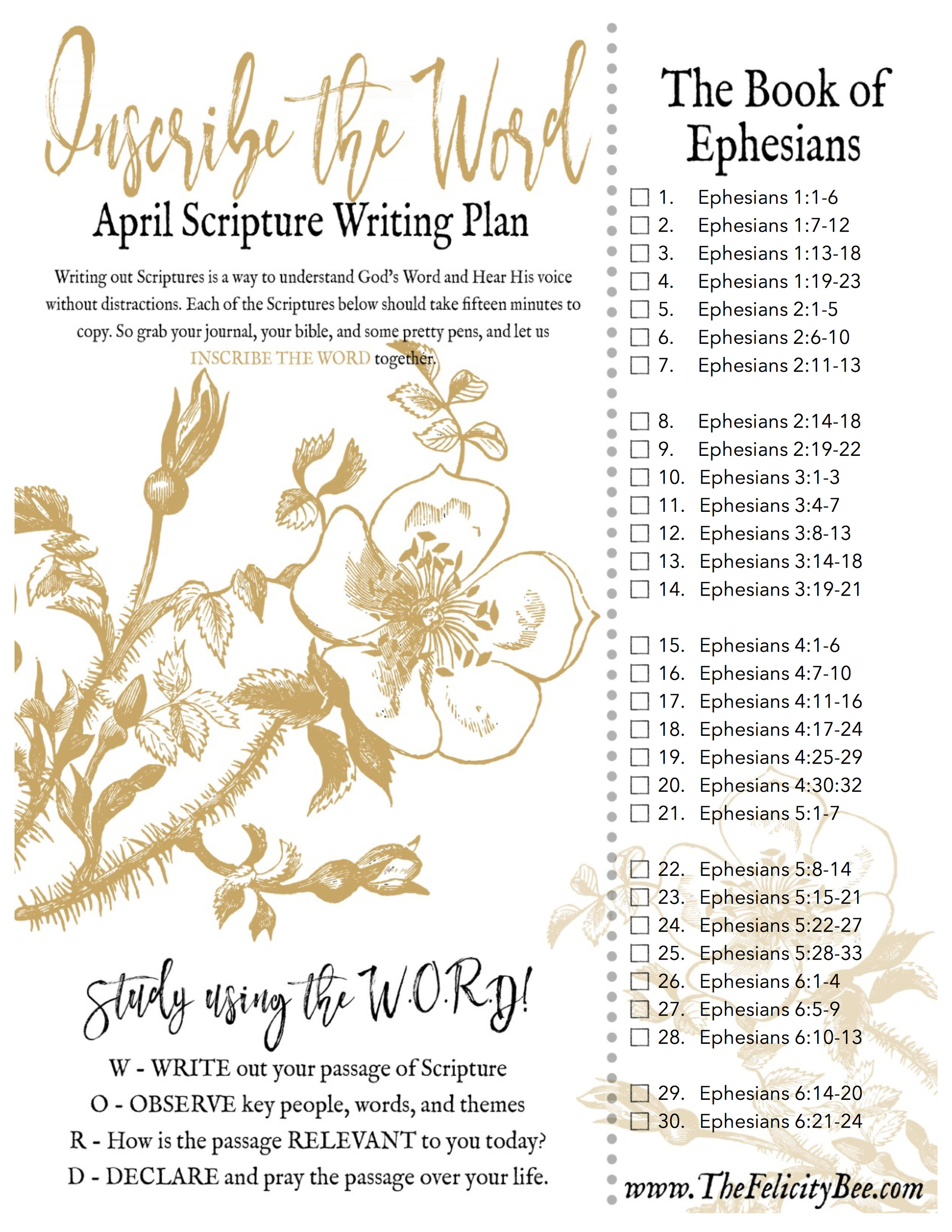 The book of Ephesians is a powerful book that reminds us of the unity we have as brothers and sisters and Christ. Join us for our April Scripture Writing Plan as we Inscribe THE BOOK OF EPHESIANS.