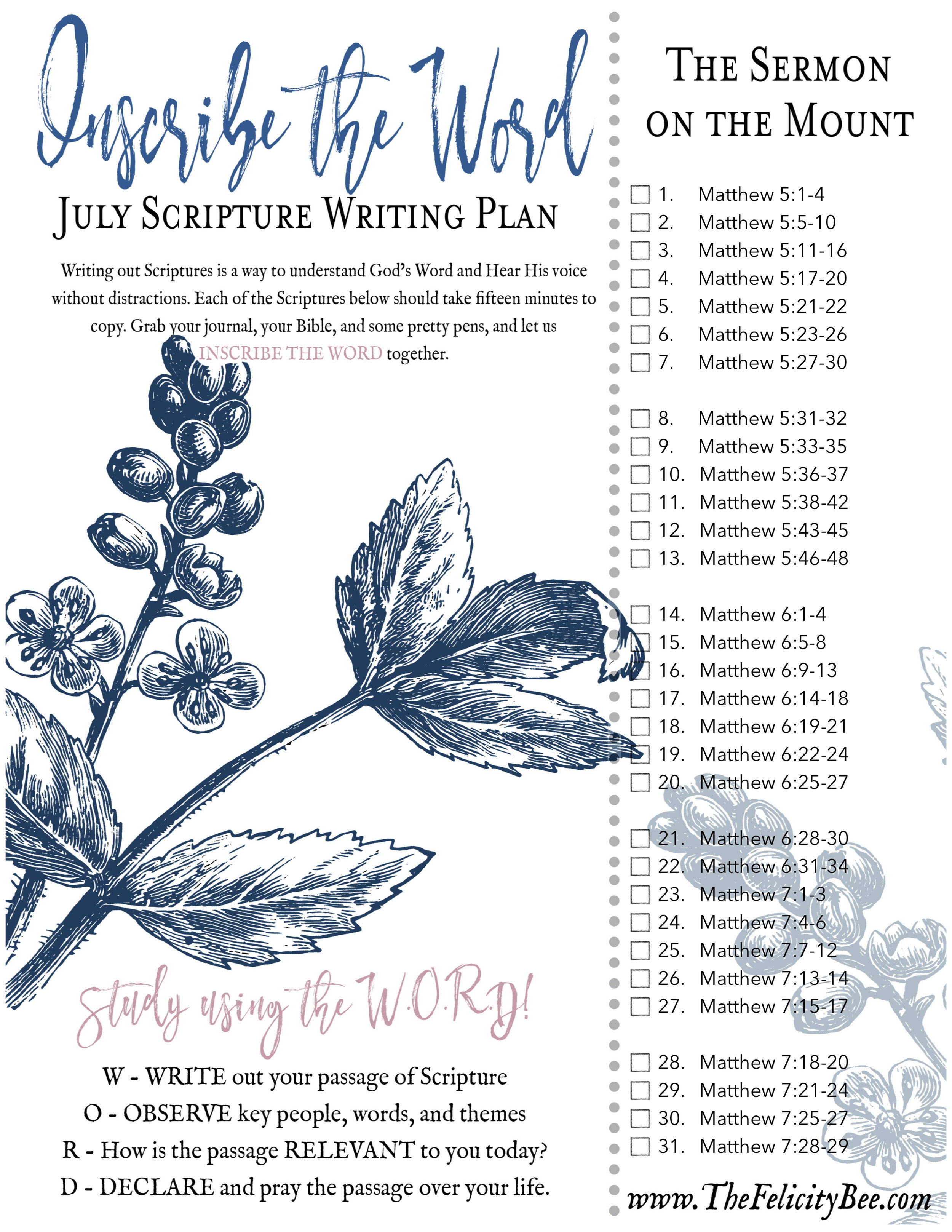 CLICK HERE  to download your July Scripture Writing Plan.