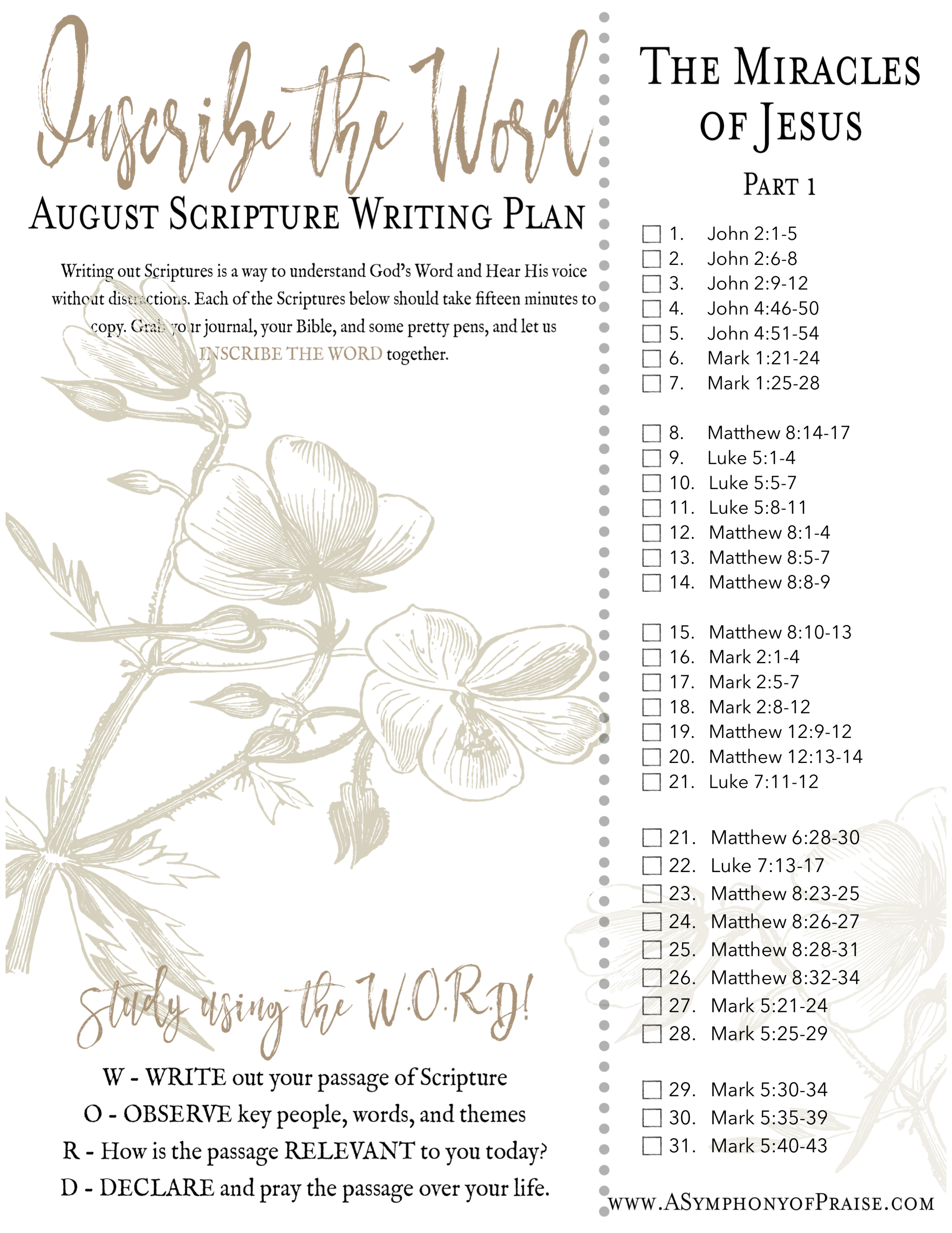 Inscribe the Word * August Scripture Writing Plan — Symphony