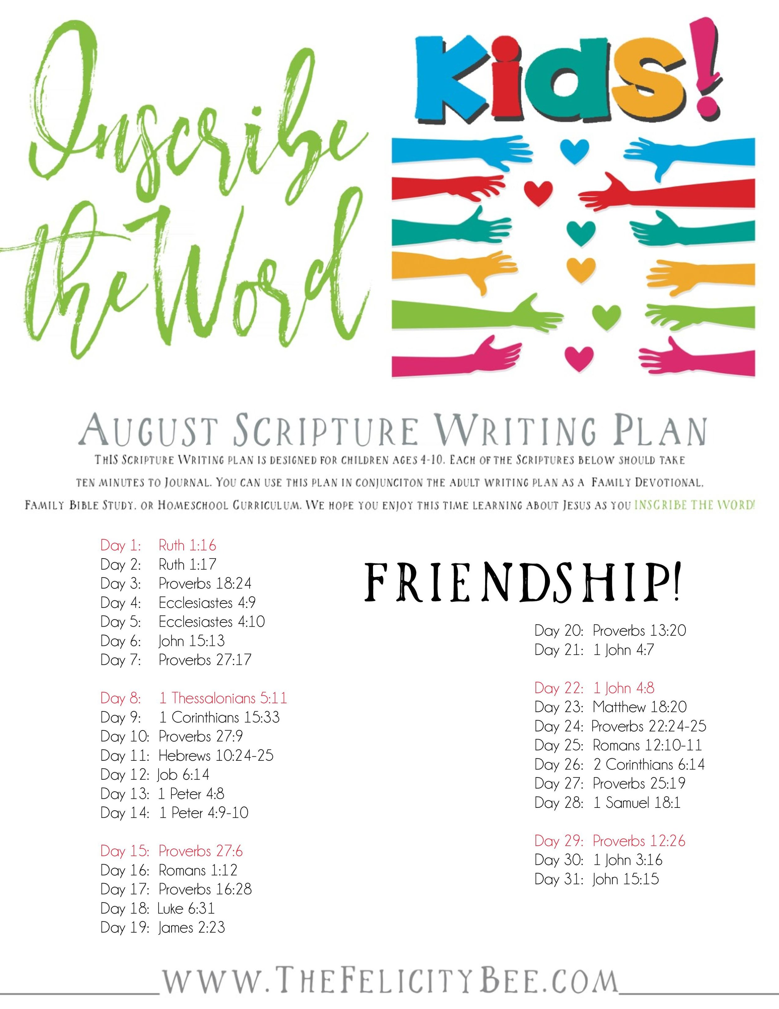 Join us this April as we Inscribe what the Bible says about friendship. A wonderful Bible Study for our kids to learn how to be a friend the Biblical way.