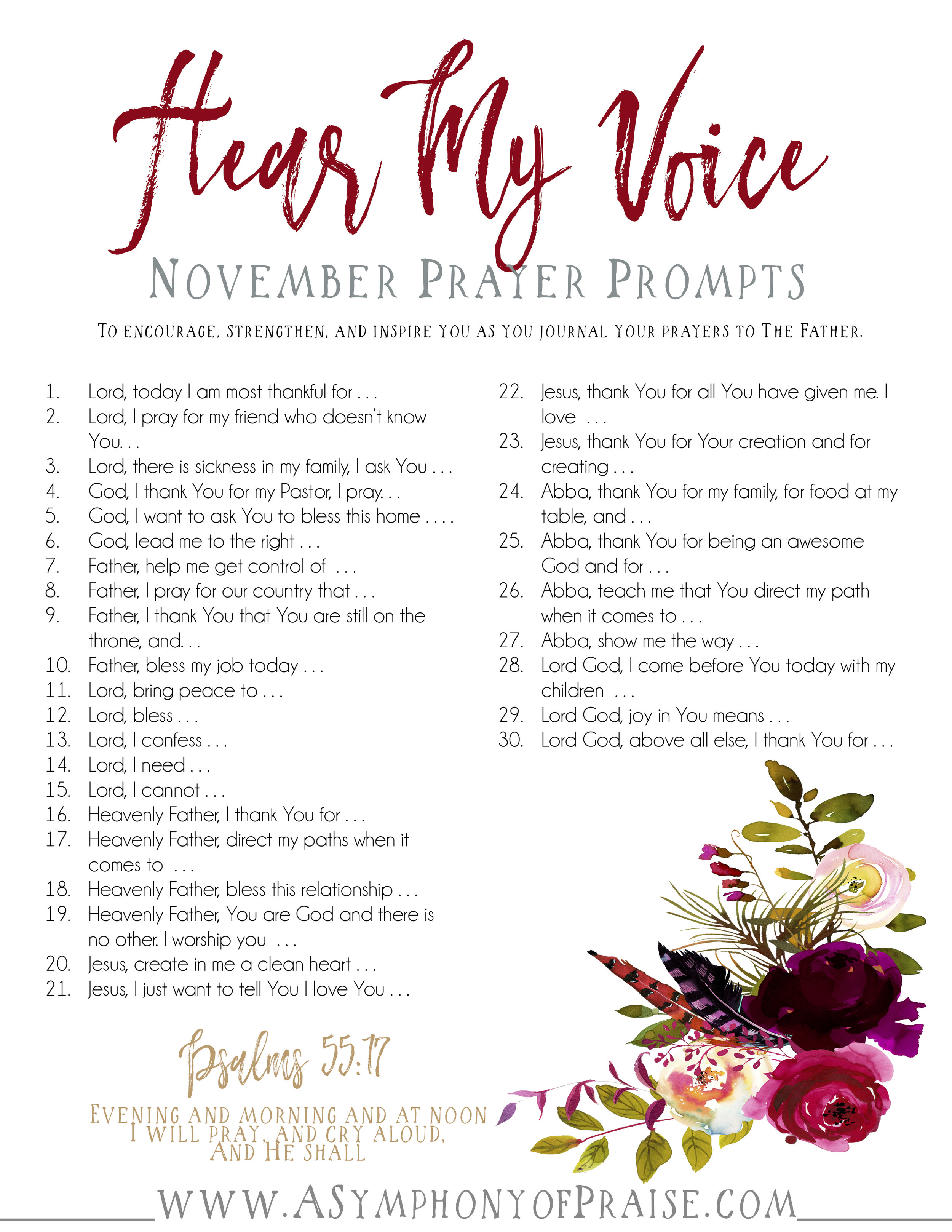 CLICK HERE  to download your NOVEMBER PRAYER PROMPTS