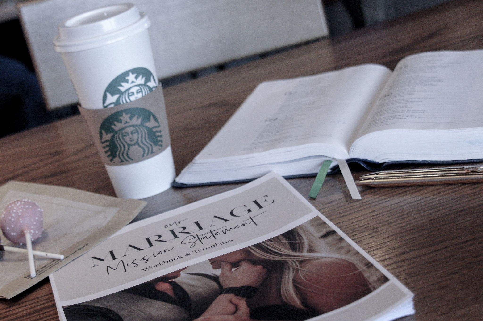A cozy coffee house date, our Bible, and a our Marriage Mission Statement Workbook (available for a FREE download) was all we needed to create this perfect date night.