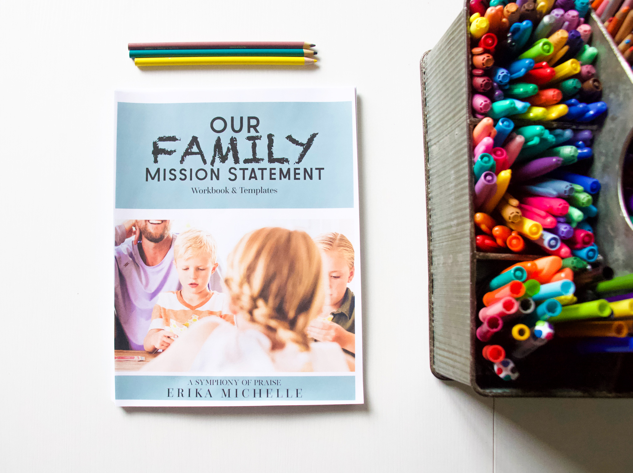 Our homeschool classroom, snacks, pizza,, and our Family Mission Statement Workbook (available for a FREE download) was all we needed to create this perfect family date night.