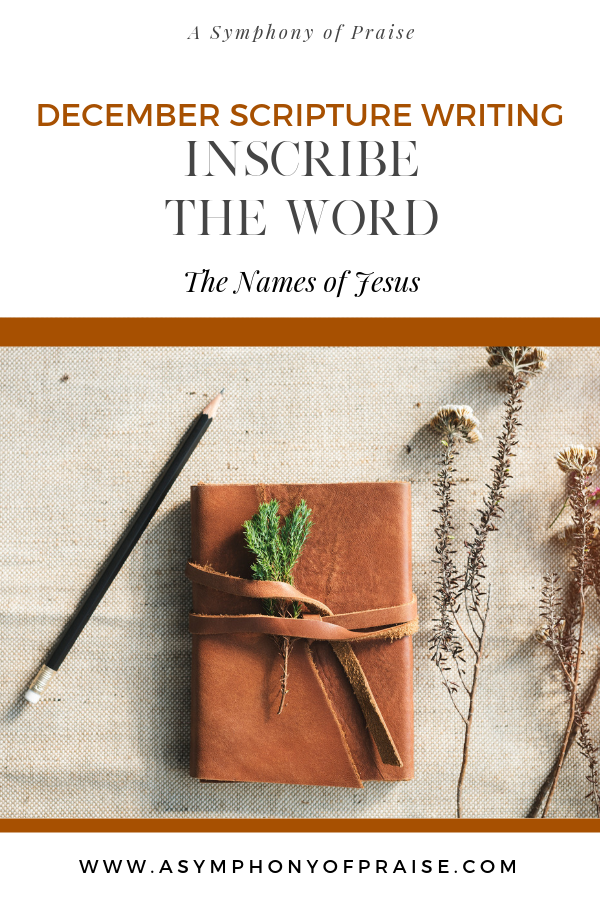 Join us for our December's Inscribe the Word Plan where we are doing a topical Bible Study on THE NAMES OF JESUS. This is a wonderful Study for your December Scripture Writing Challenge.