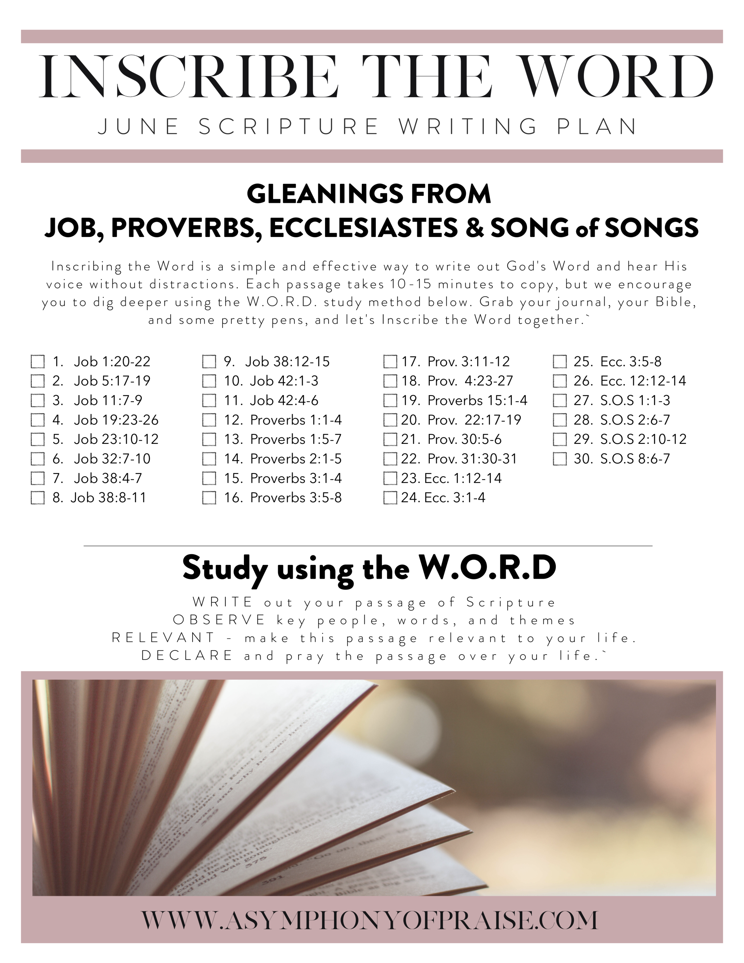 Inscribe the Word - June Scripture Writing Plan — Symphony