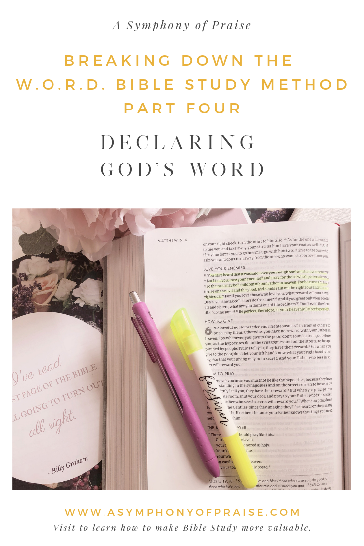 In 2017, I wrote the W.O.R.D. Bible study method to help you dig deeper into the Word of God. In this Four-Part Series, we are breaking down each part of the W.O.R.D. method to give you a better understanding of how you can get the most out of your Bible study time. Bible Study doesn't have to be complicated or boring. Learn how to make your Quiet Time with the Lord life-changing.
