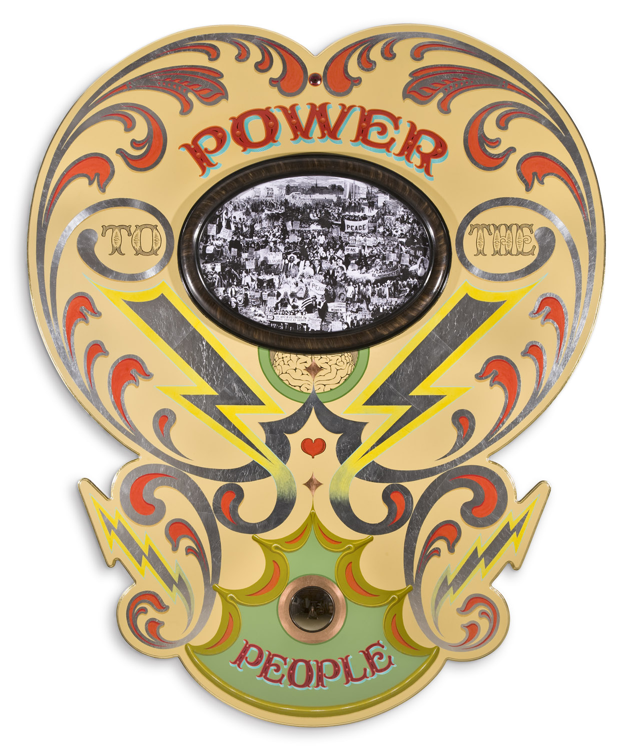 "Power to the People II   2010, Oil alkyd painting & collage on wood with slumped glass, mirror and gilding  58"" x 48"" x 4"""