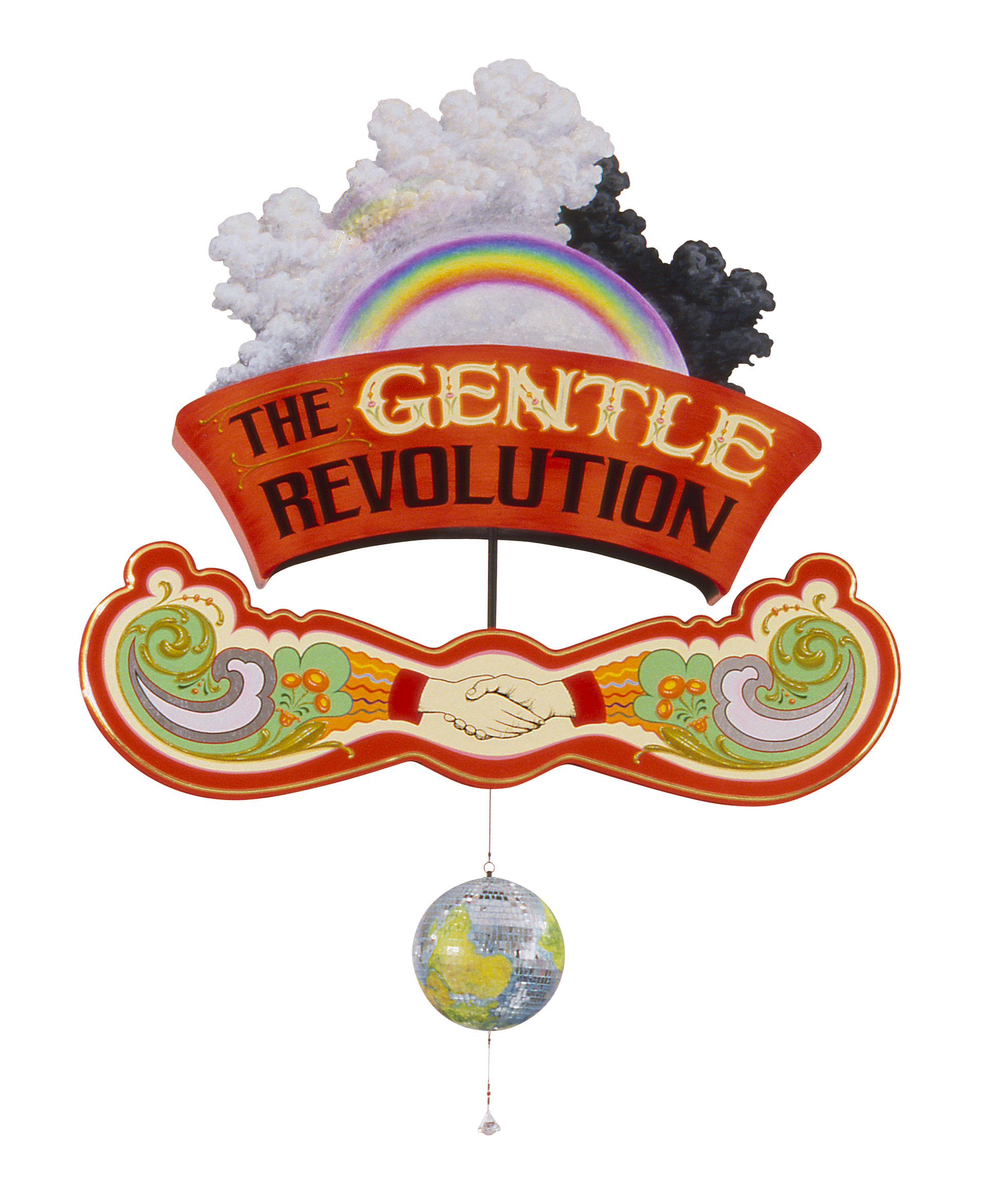 "The Gentle Revolution Earth Ball   2010, Mixed media painted kinetic sculpture  with gilding, mirrored ball and beaded crystal   46"" x 42"" x 8"""