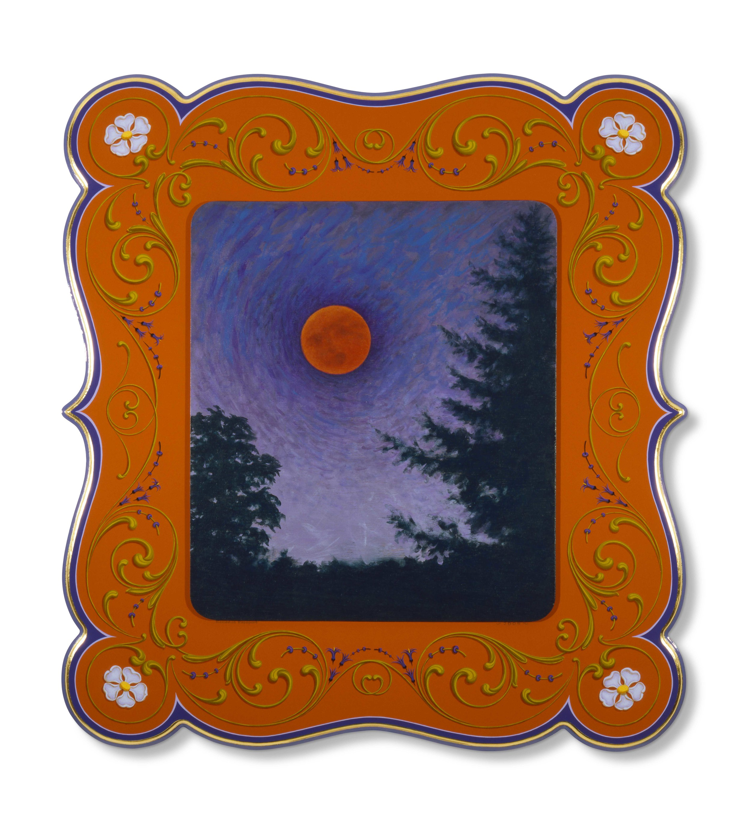 "Total Eclipse   2005, Oil alkyd painting on  wood panels with 23k gilding  30"" x 26"" x 1.5"""