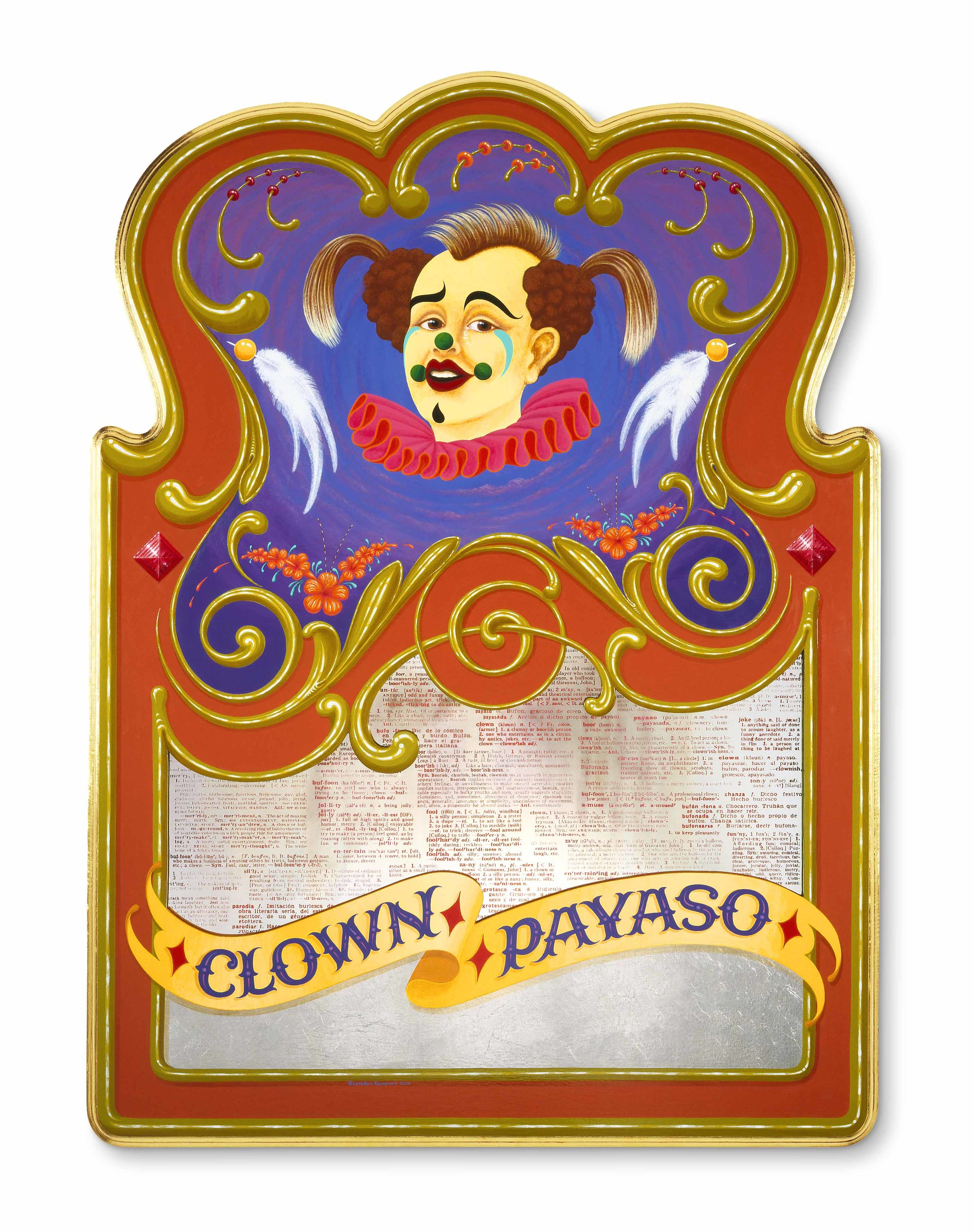 "Clown-Payaso   2004, Oil alkyd painting on wood panel with text embedded mirrored glass,  aluminum and 23k gilding  38"" x 28"" x 1.5"""