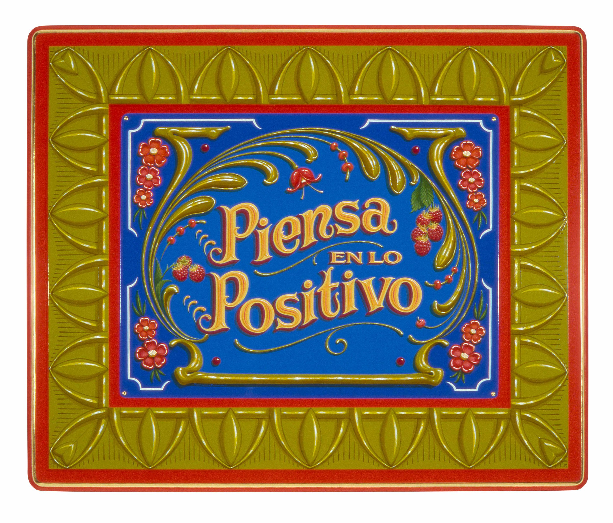 "Piensa en lo Positivo   2004, Oil alkyd painting on aluminum and wood panel with 23k gilding  19"" x 24"" x 1.5"""