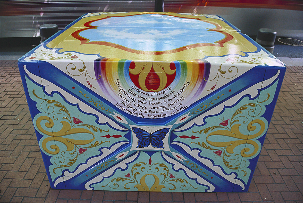 "Defenders of Fresh Air   2001, Alkyd oil painting and poetry on fiberglass bicycle lockers  48""x 74"" x 80""  Public Art Commission, Regional Arts & Culture Council for the City of Portland Department of Transportation."