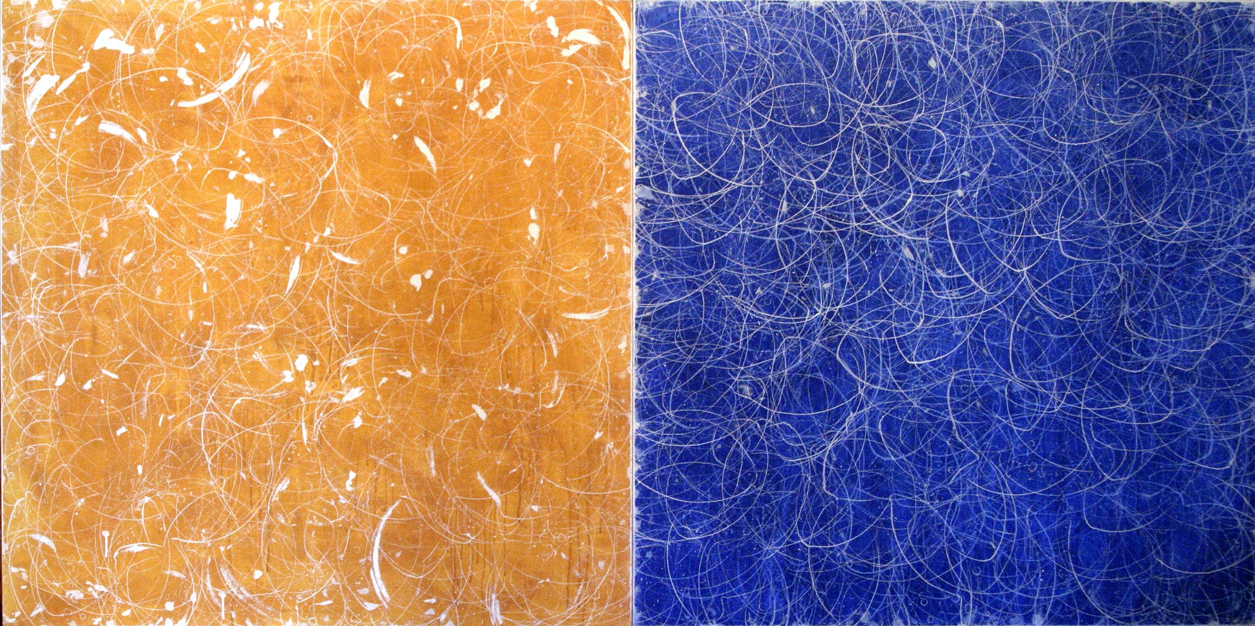 """ochre blue diptych   50""""X100""""   ACRYLIC ON CANVAS 2003"""
