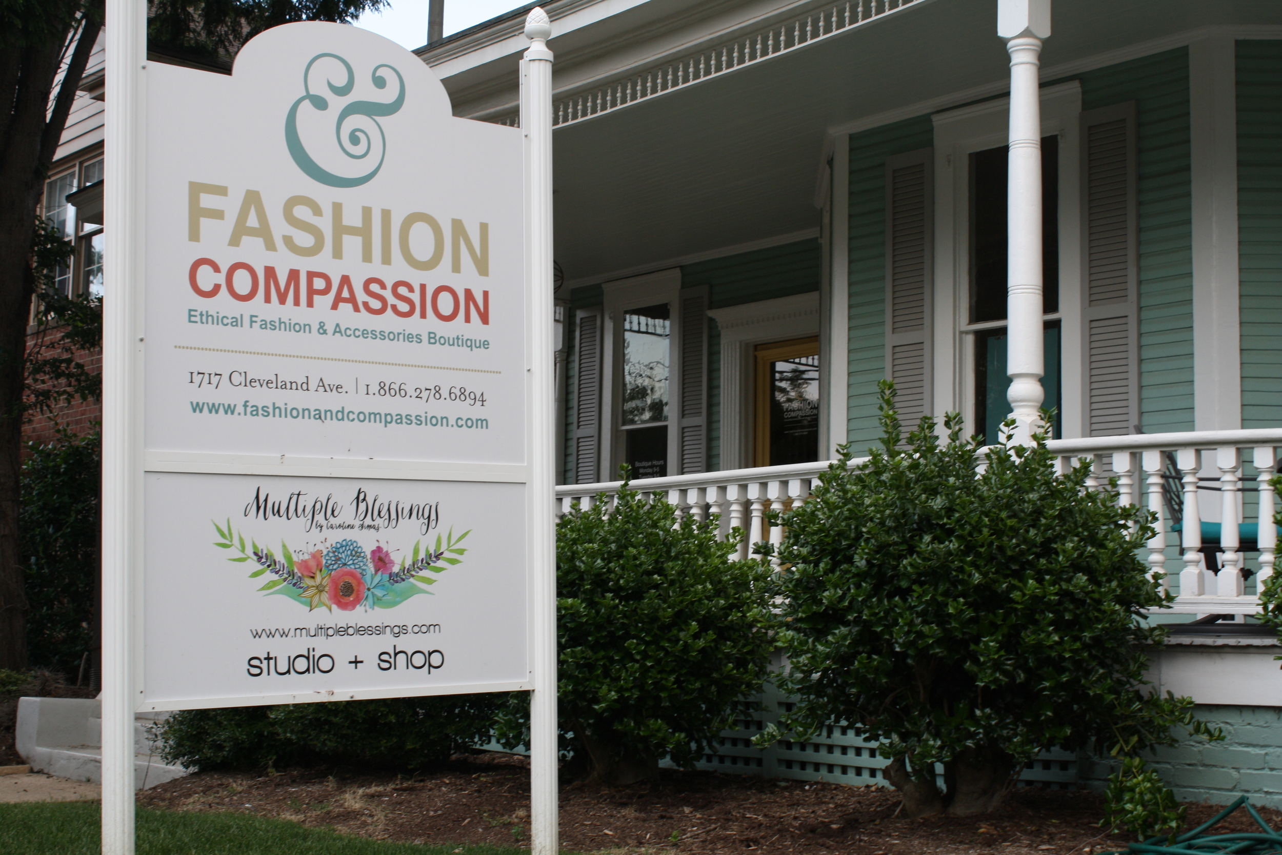 Fashion & Compassion offices are also home to local artist, Caroline Simas, who also displays her art in the boutique.