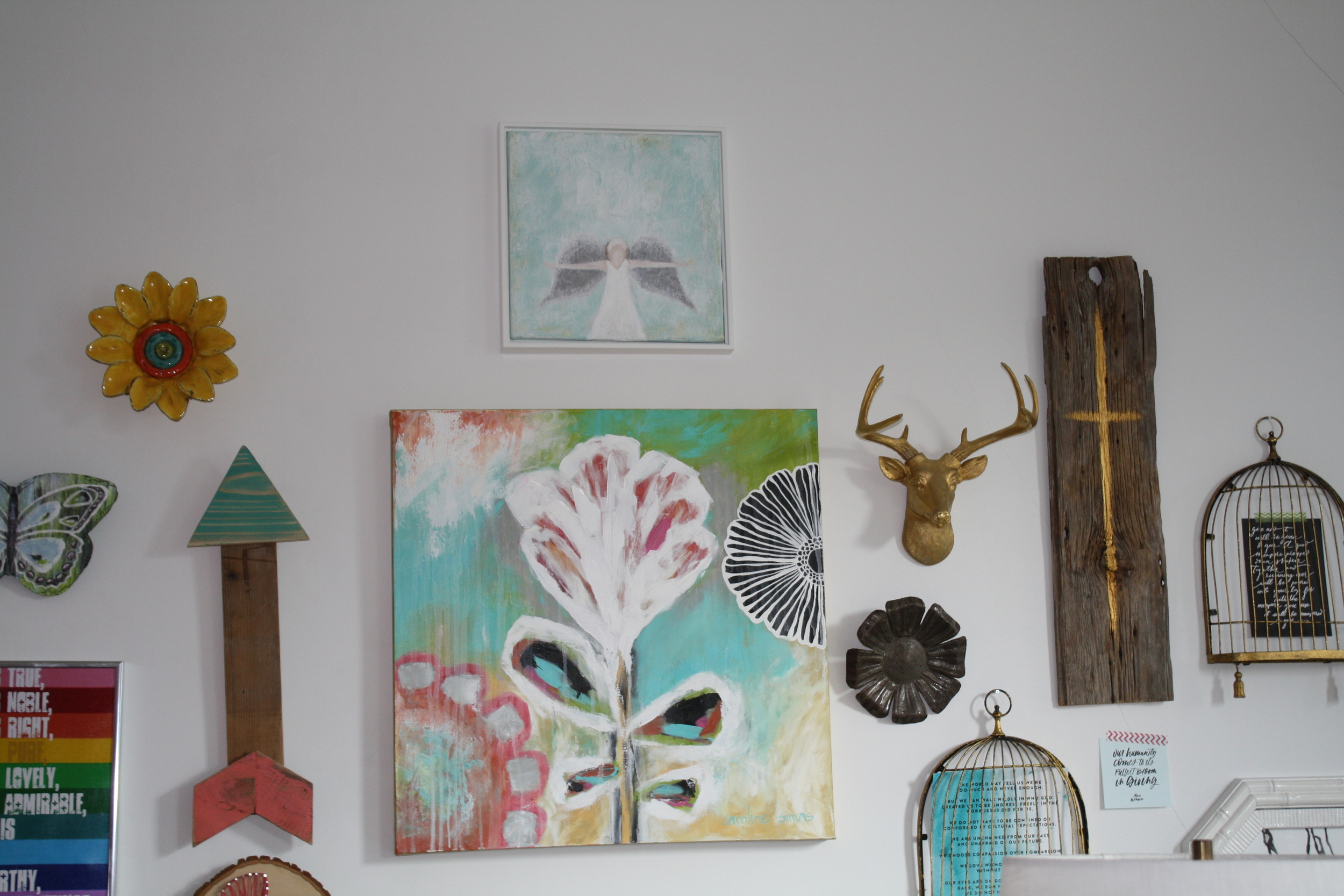 LOVE, LOVE, LOVE it all! The cross on wood, the angel, the arrow, the birdages....