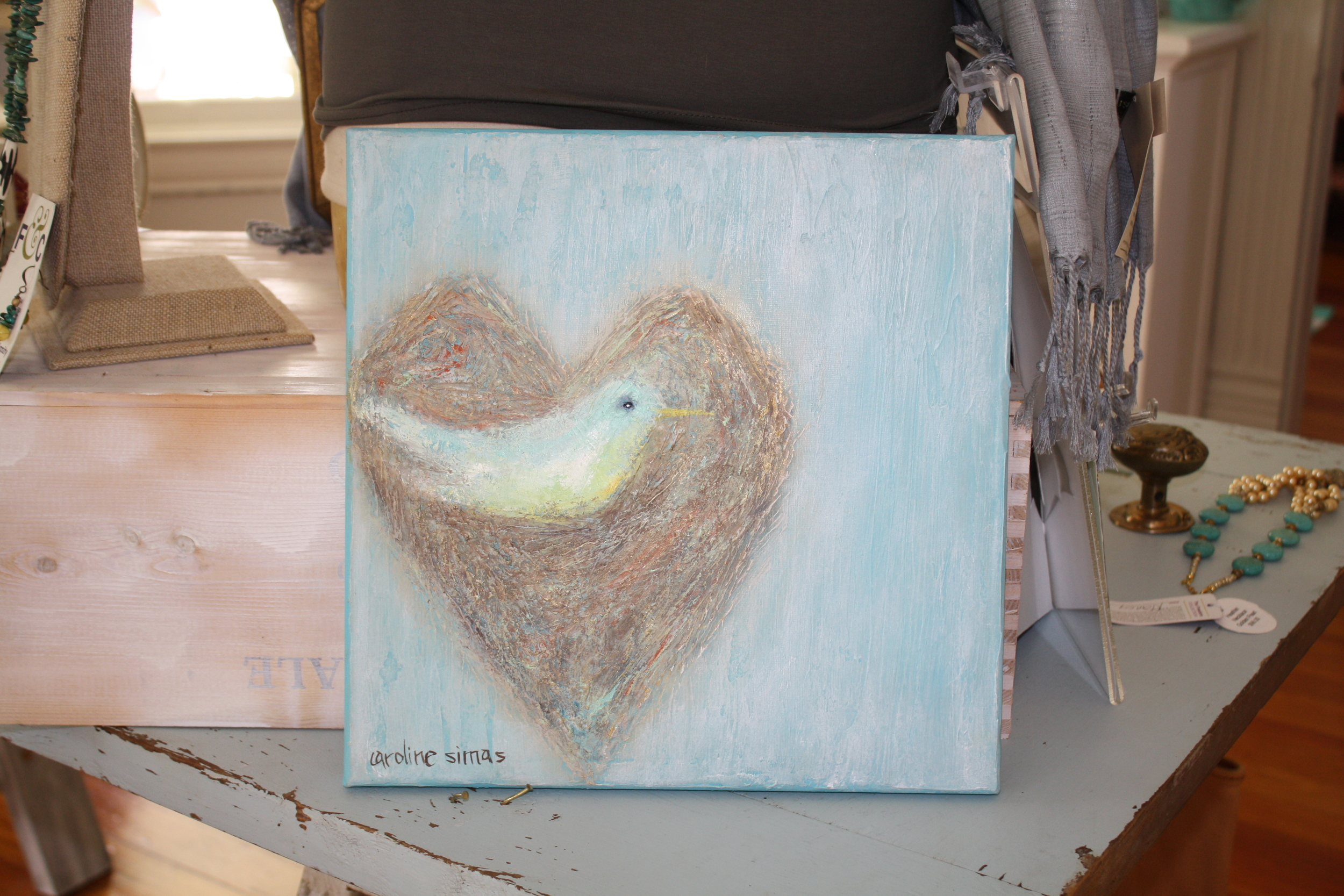 Such sweet symbolism in this painting of a sweet little bird enclosed in a heart.