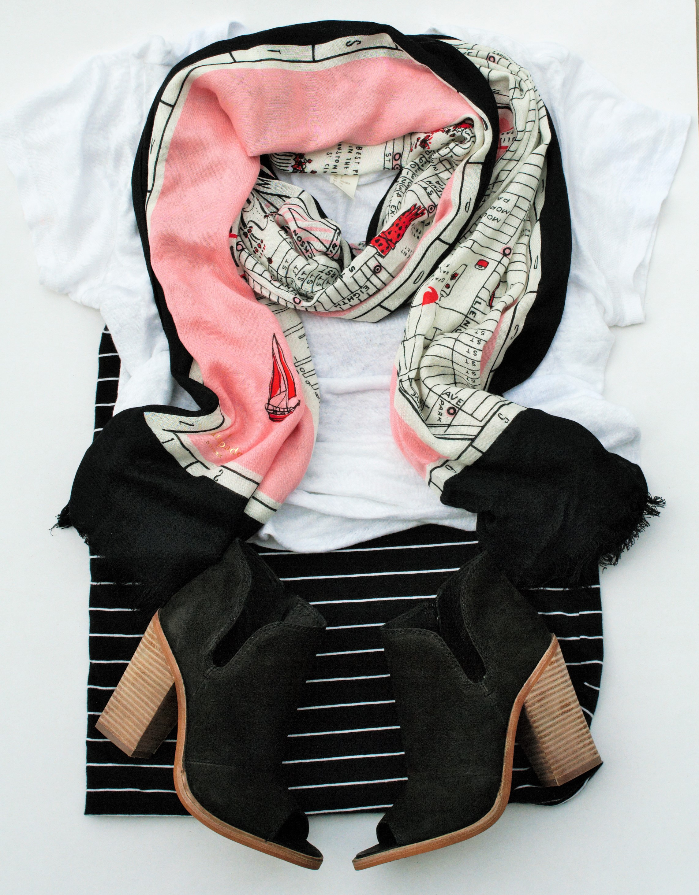 striped skirt white tee kate spade scarf plus booties