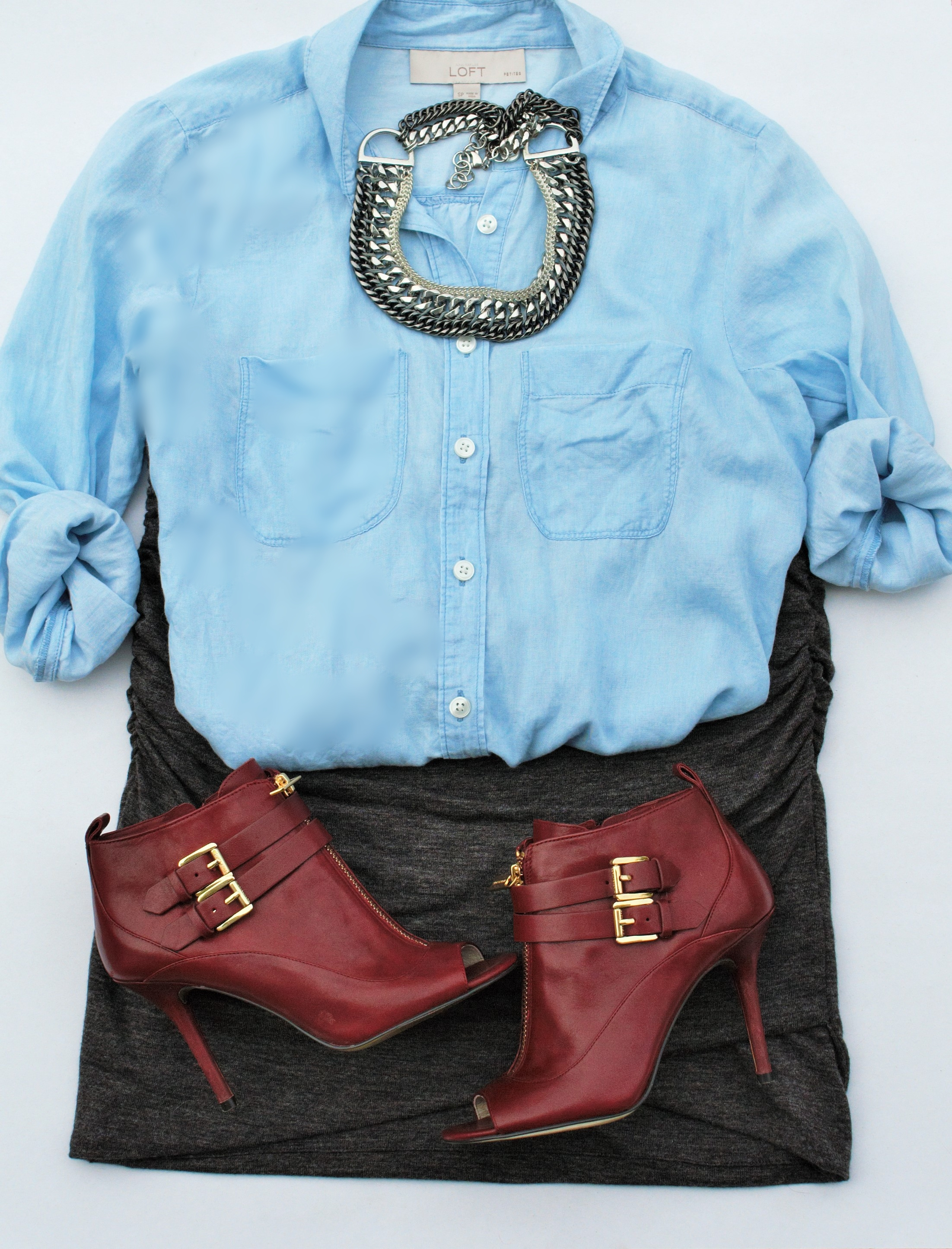 chambray button down plus booties