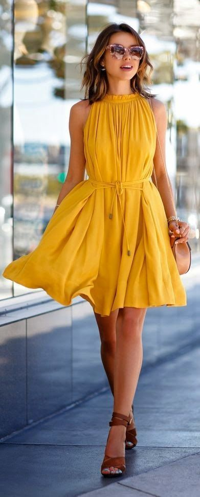 yellow dress tan sandals