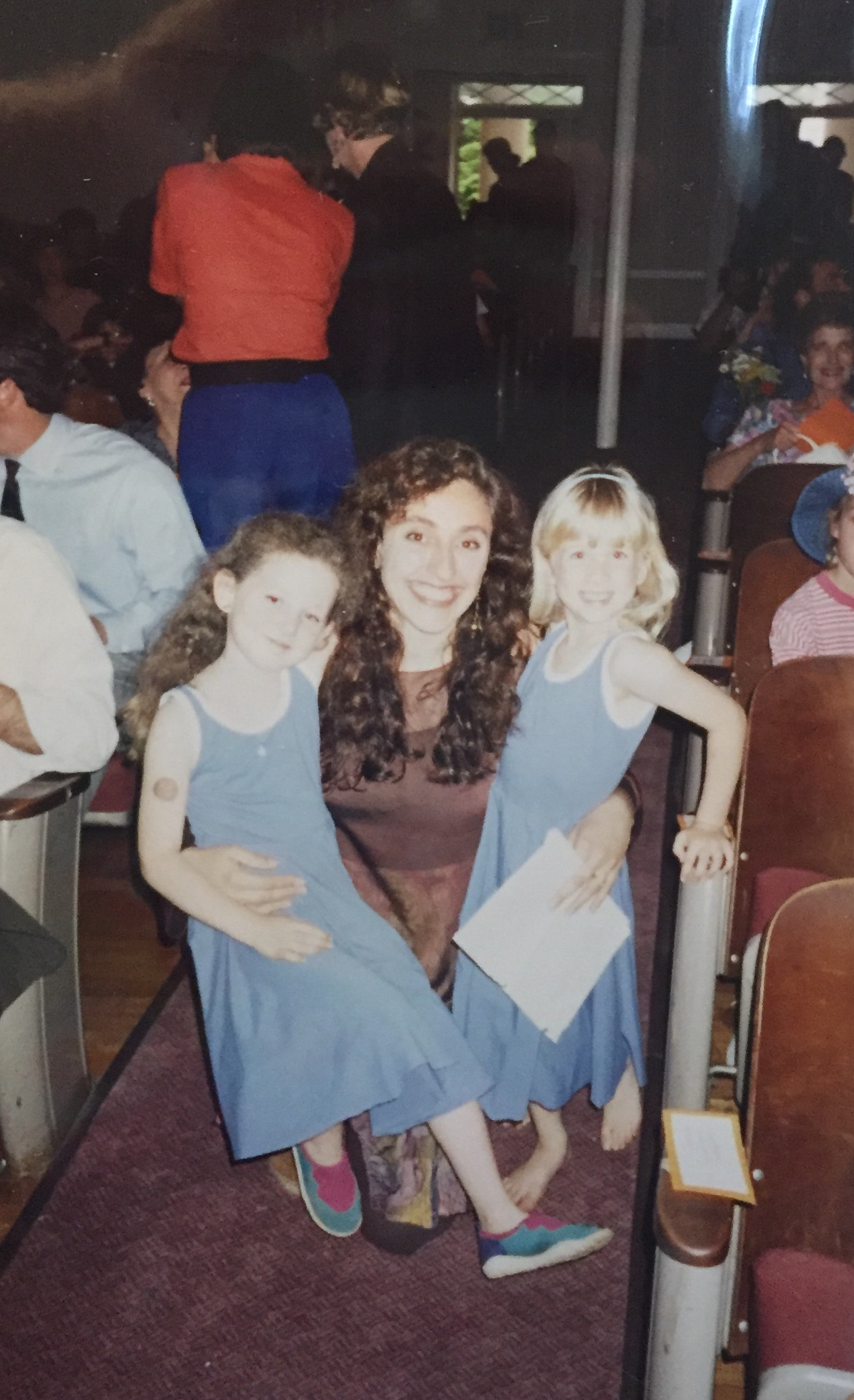 JESSI (RIGHT) WITH HER DANCE TEACHER MAGGIE BENNETT DURING ARTS FEST, 1995. SHE PROUDLY DISPLAYS HER DRESS IN THE BOTTOM RIGHT IMAGE.