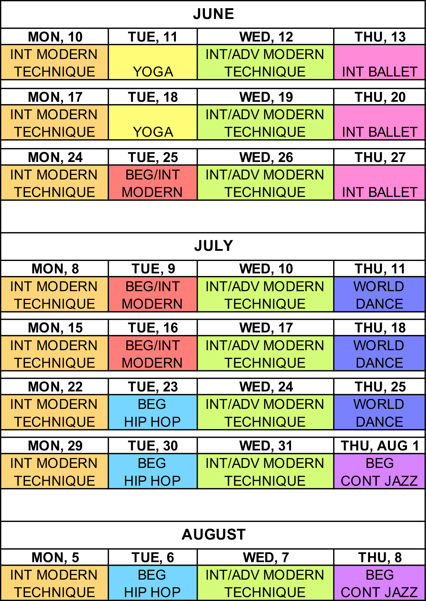 Summer Dance Schedule