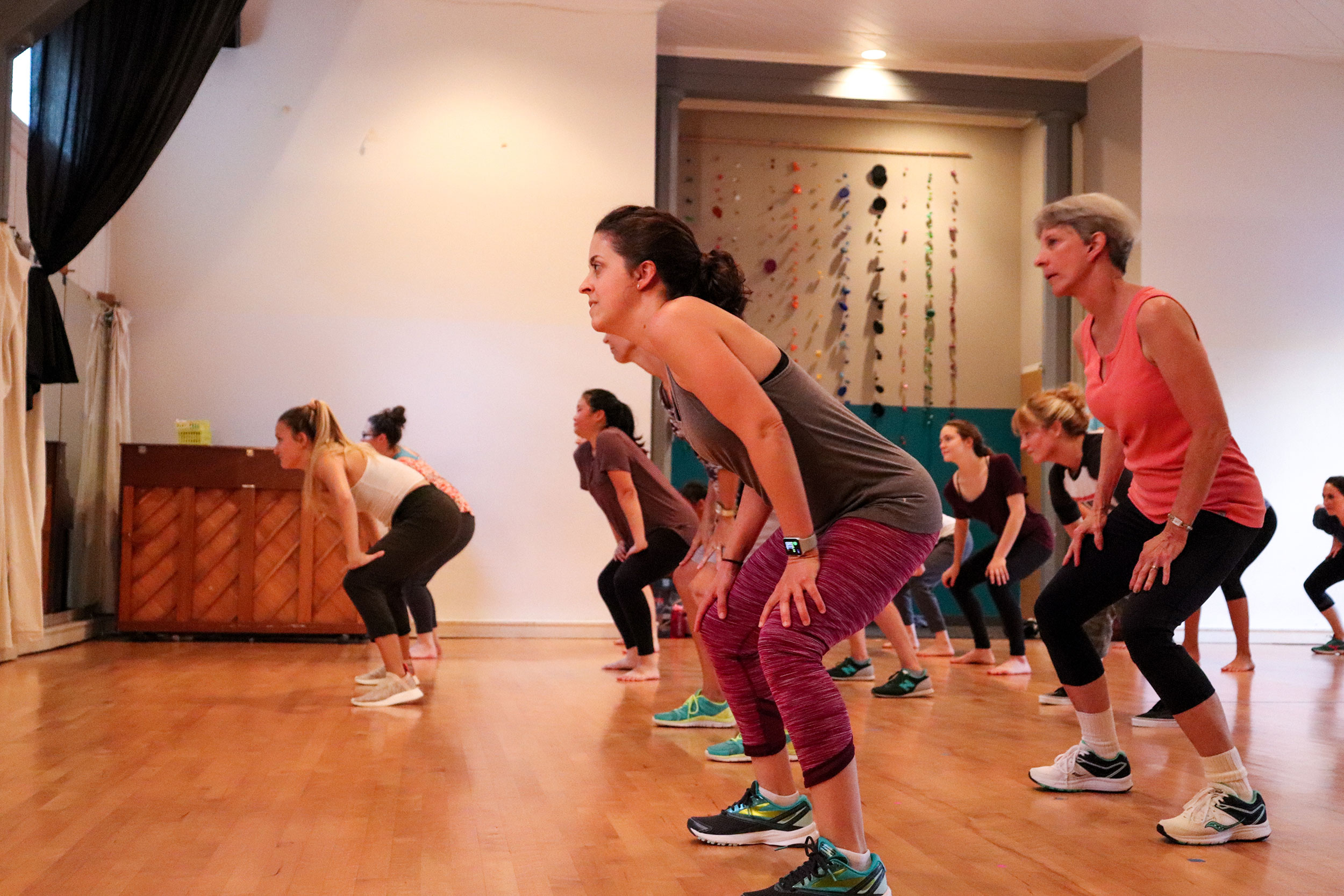 Adult students in Beginning Hip Hop get their groove on.